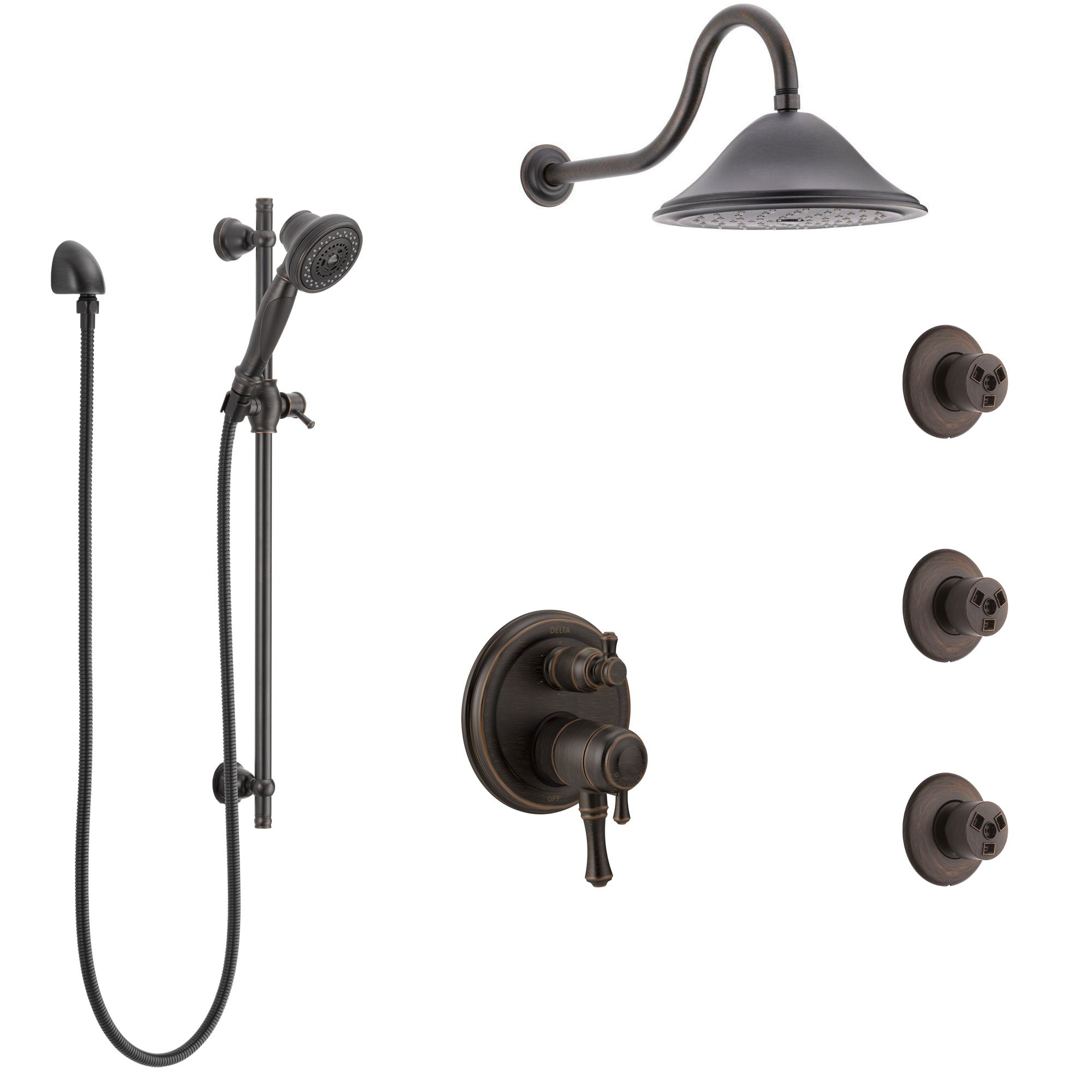 Delta Cassidy Venetian Bronze Shower System with Dual Control Handle, Integrated Diverter, Showerhead, 3 Body Sprays, and Hand Shower SS27997RB1