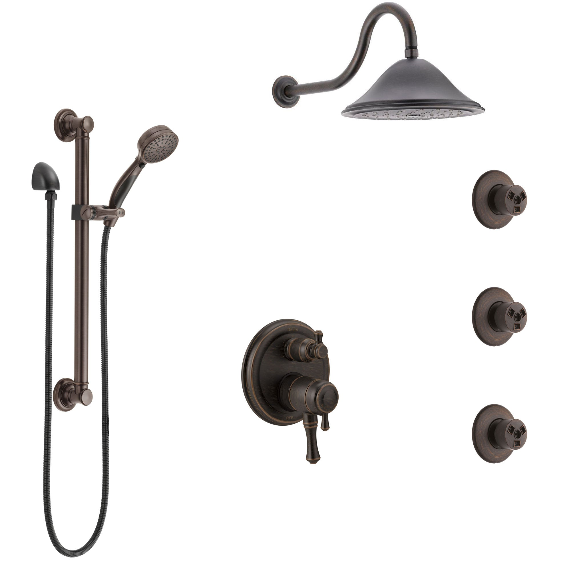 Delta Cassidy Venetian Bronze Shower System with Dual Control Handle, Integrated Diverter, Showerhead, 3 Body Sprays, Grab Bar Hand Spray SS27997RB2