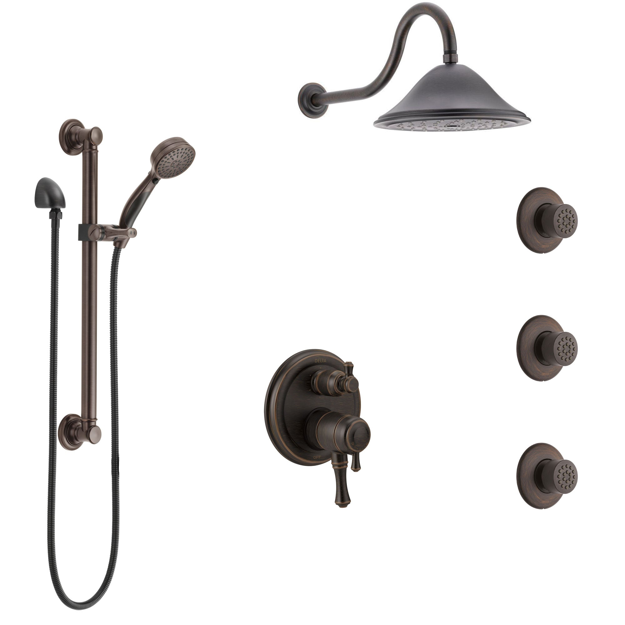 Delta Cassidy Venetian Bronze Shower System with Dual Control Handle, Integrated Diverter, Showerhead, 3 Body Sprays, Grab Bar Hand Spray SS27997RB3
