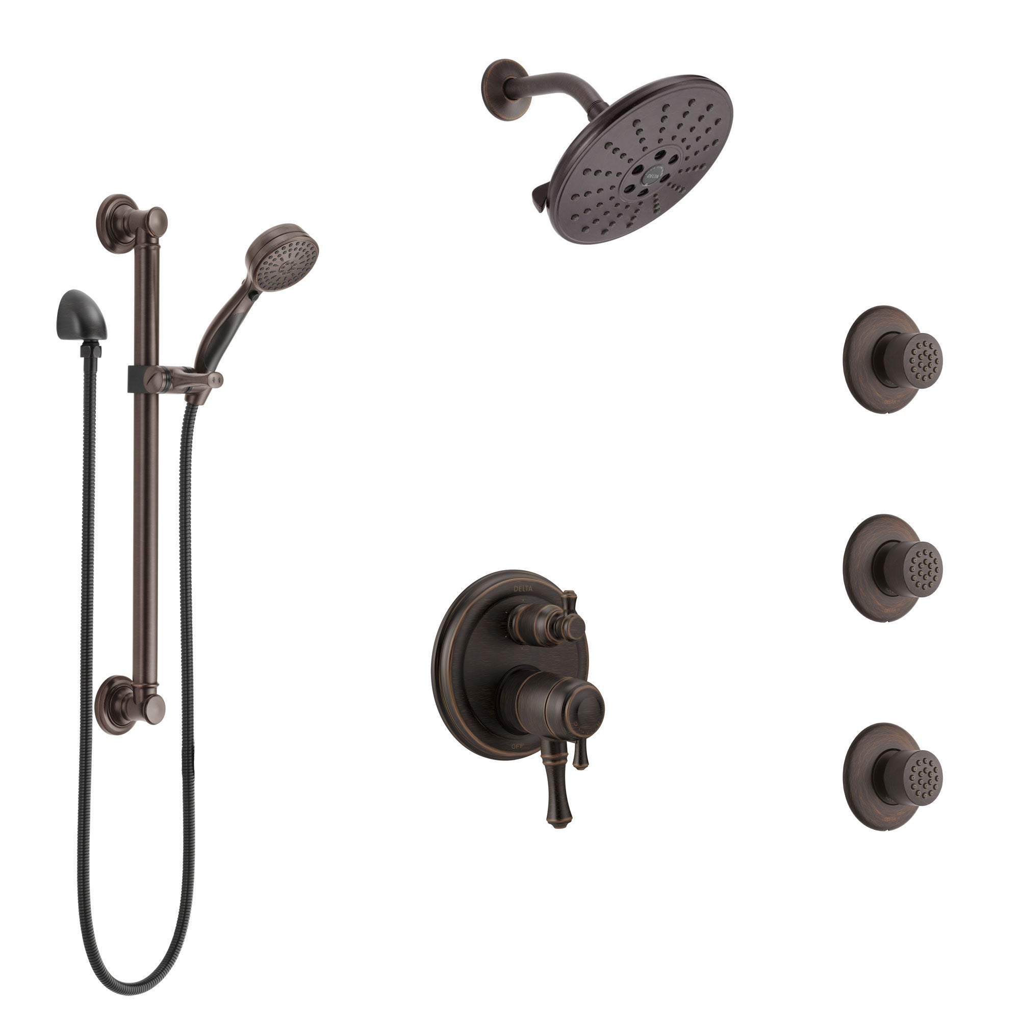 Delta Cassidy Venetian Bronze Shower System with Dual Control Handle, Integrated Diverter, Showerhead, 3 Body Sprays, Grab Bar Hand Spray SS27997RB4