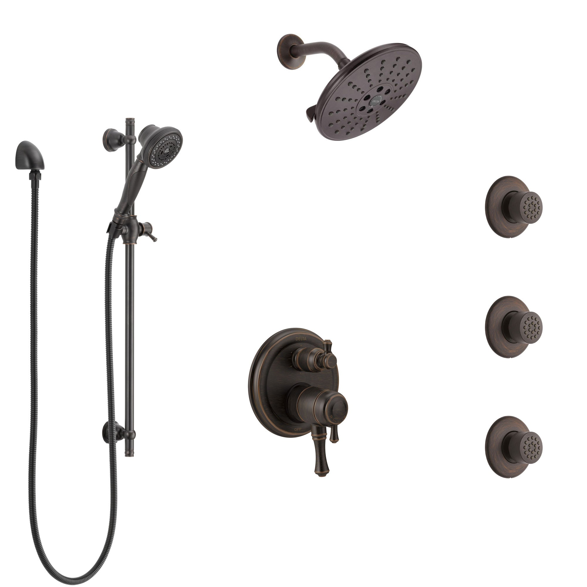 Delta Cassidy Venetian Bronze Shower System with Dual Control Handle, Integrated Diverter, Showerhead, 3 Body Sprays, and Hand Shower SS27997RB6