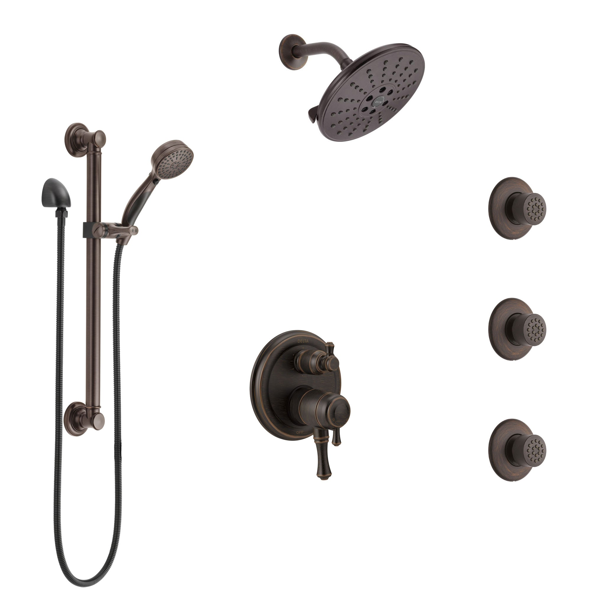 Delta Cassidy Venetian Bronze Shower System with Dual Control Handle, Integrated Diverter, Showerhead, 3 Body Sprays, Grab Bar Hand Spray SS27997RB7