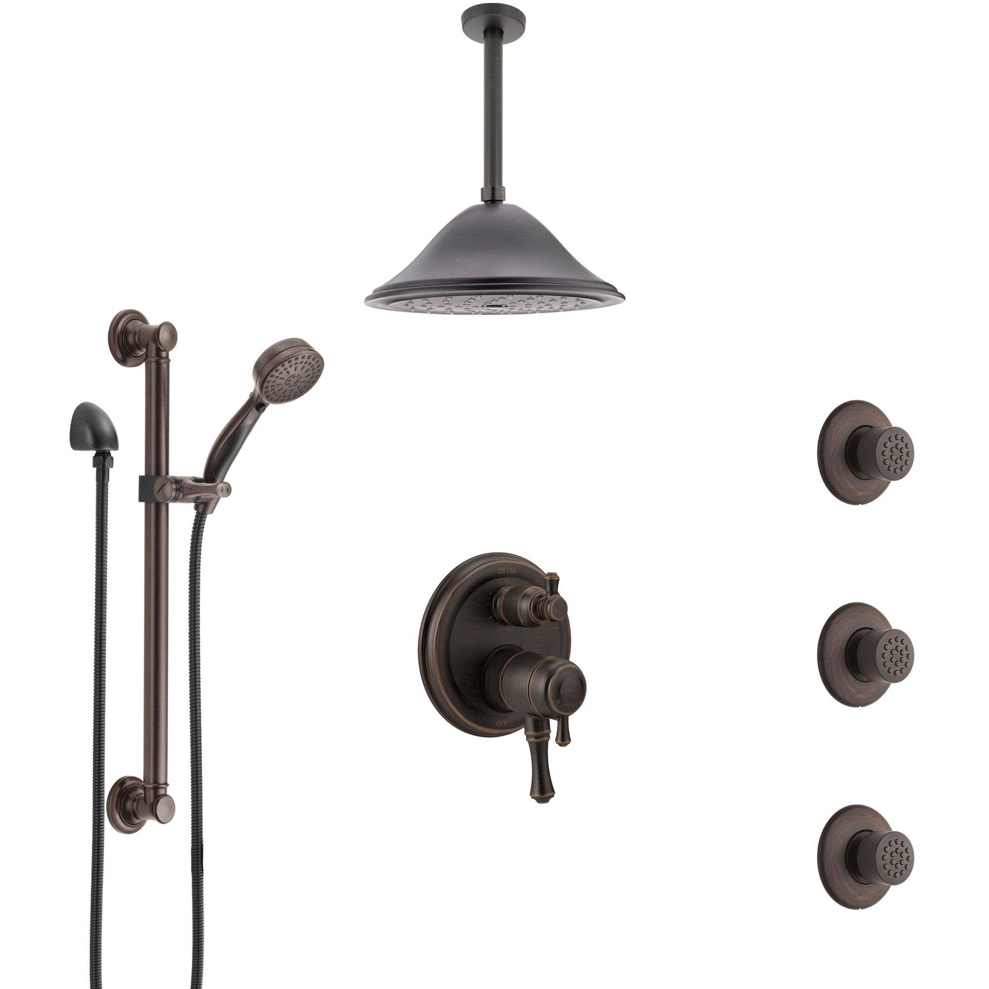 Delta Cassidy Venetian Bronze Dual Control Handle Shower System, Integrated Diverter, Ceiling Showerhead, 3 Body Jets, Grab Bar Hand Spray SS27997RB8