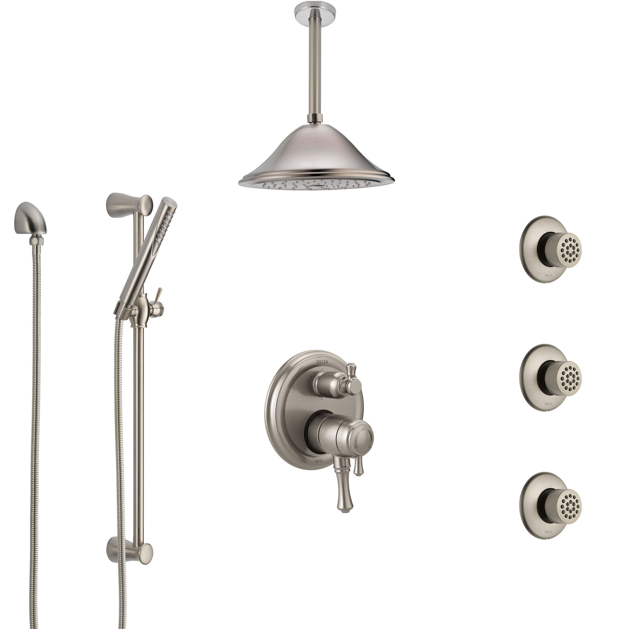 Delta Cassidy Dual Control Handle Stainless Steel Finish Integrated Diverter Shower System, Ceiling Showerhead, 3 Body Sprays, Hand Spray SS27997SS10