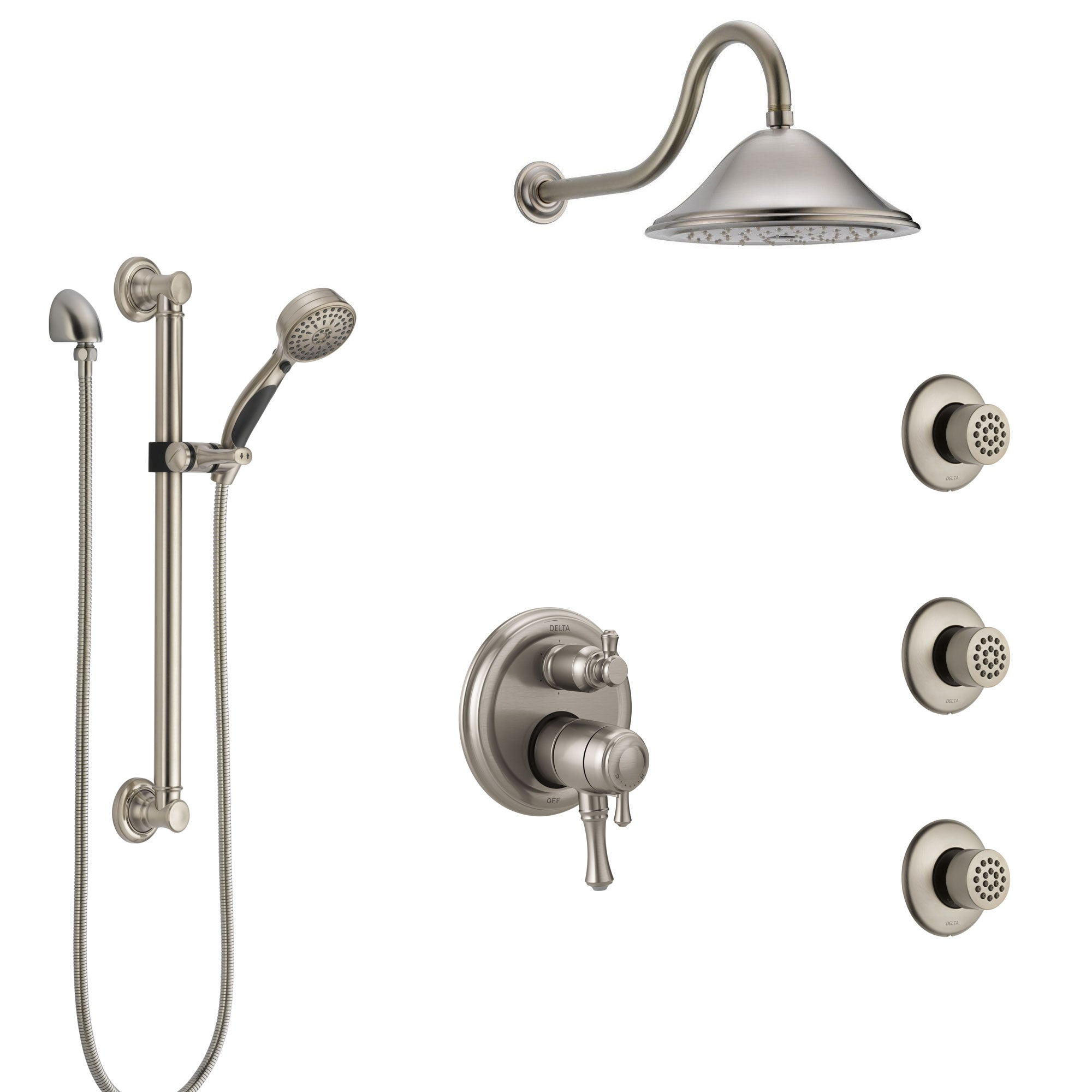 Delta Cassidy Dual Control Handle Stainless Steel Finish Integrated Diverter Shower System, Showerhead, 3 Body Sprays, Grab Bar Hand Spray SS27997SS12