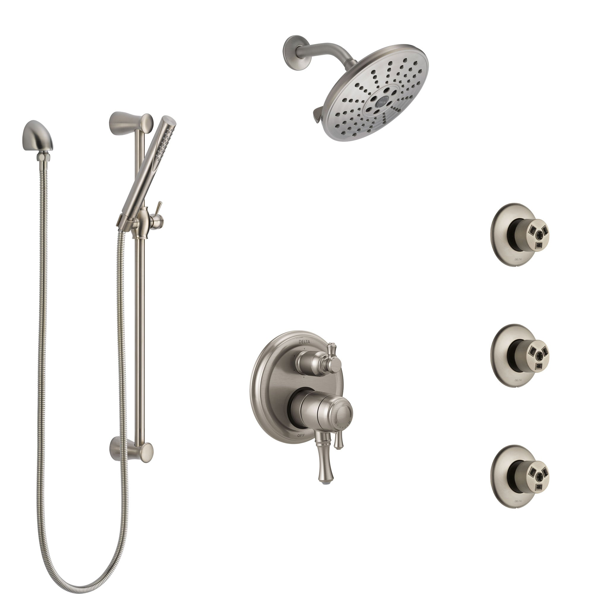 Delta Cassidy Dual Control Handle Stainless Steel Finish Shower System, Integrated Diverter, Showerhead, 3 Body Sprays, and Hand Shower SS27997SS1