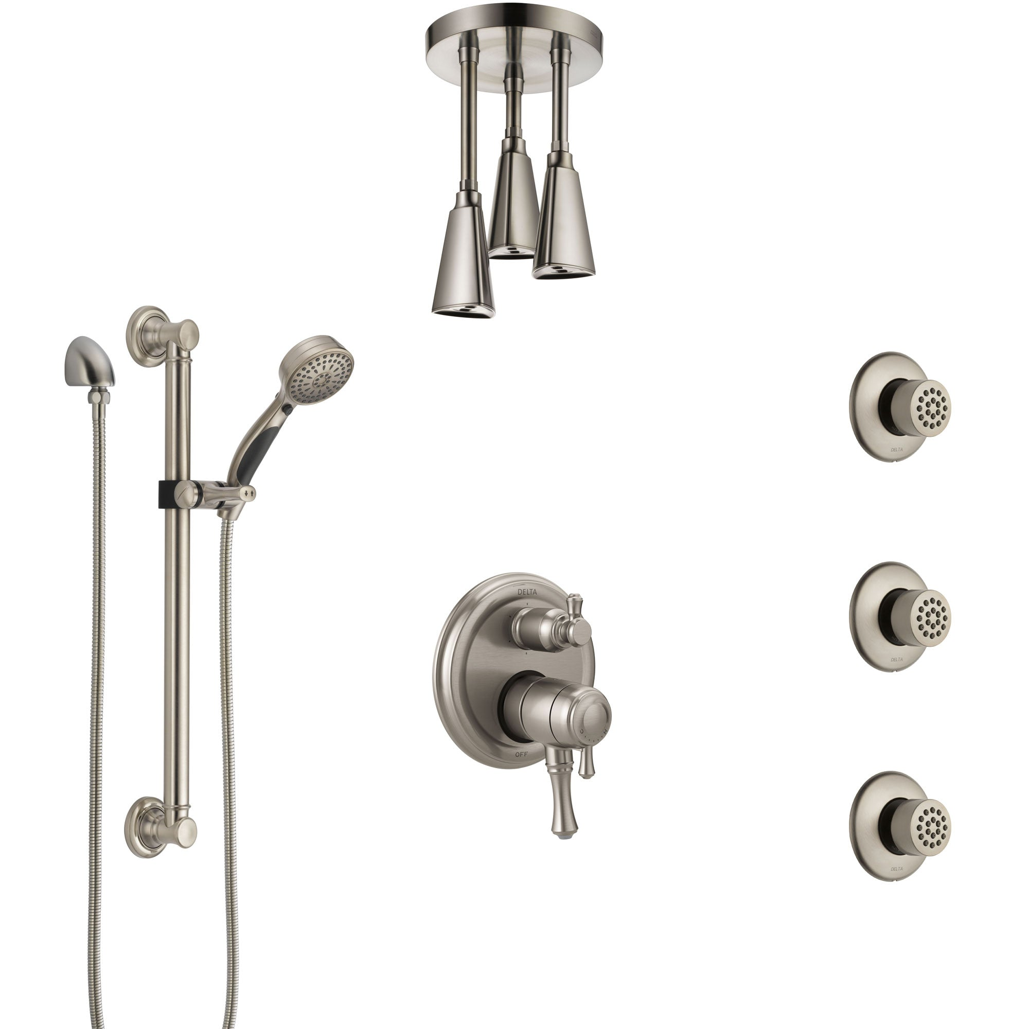Delta Cassidy Dual Control Handle Stainless Steel Finish Shower System, Ceiling Showerhead, 3 Body Jets, Grab Bar Hand Spray SS27997SS4