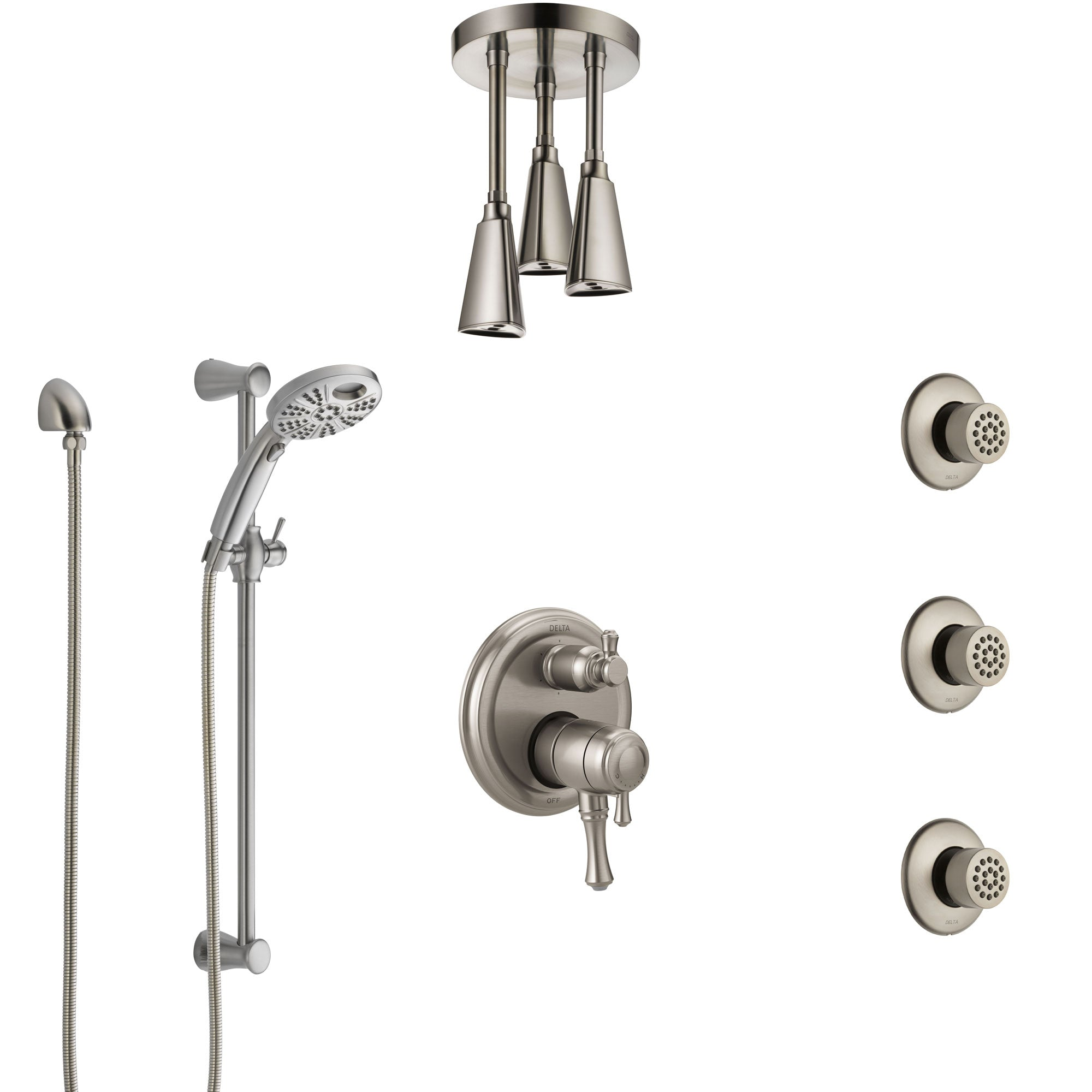 Delta Cassidy Dual Control Stainless Steel Finish Integrated Diverter Shower System, Ceiling Showerhead, 3 Body Sprays, Temp2O Hand Spray SS27997SS5