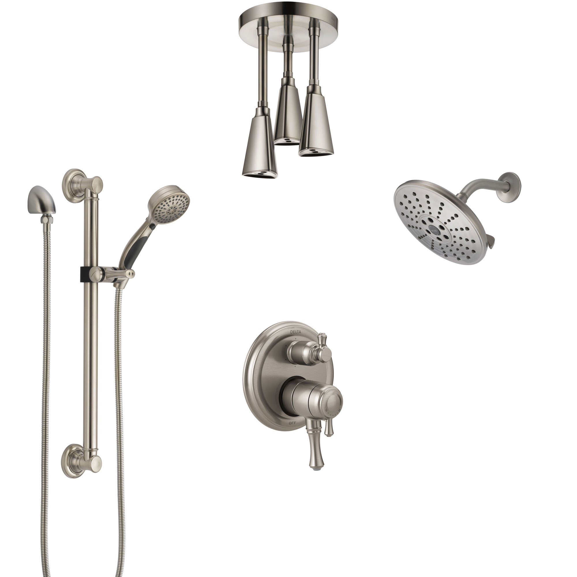 Delta Cassidy Dual Control Handle Stainless Steel Finish Shower System, Showerhead, Ceiling Showerhead, Grab Bar Hand Spray SS27997SS7