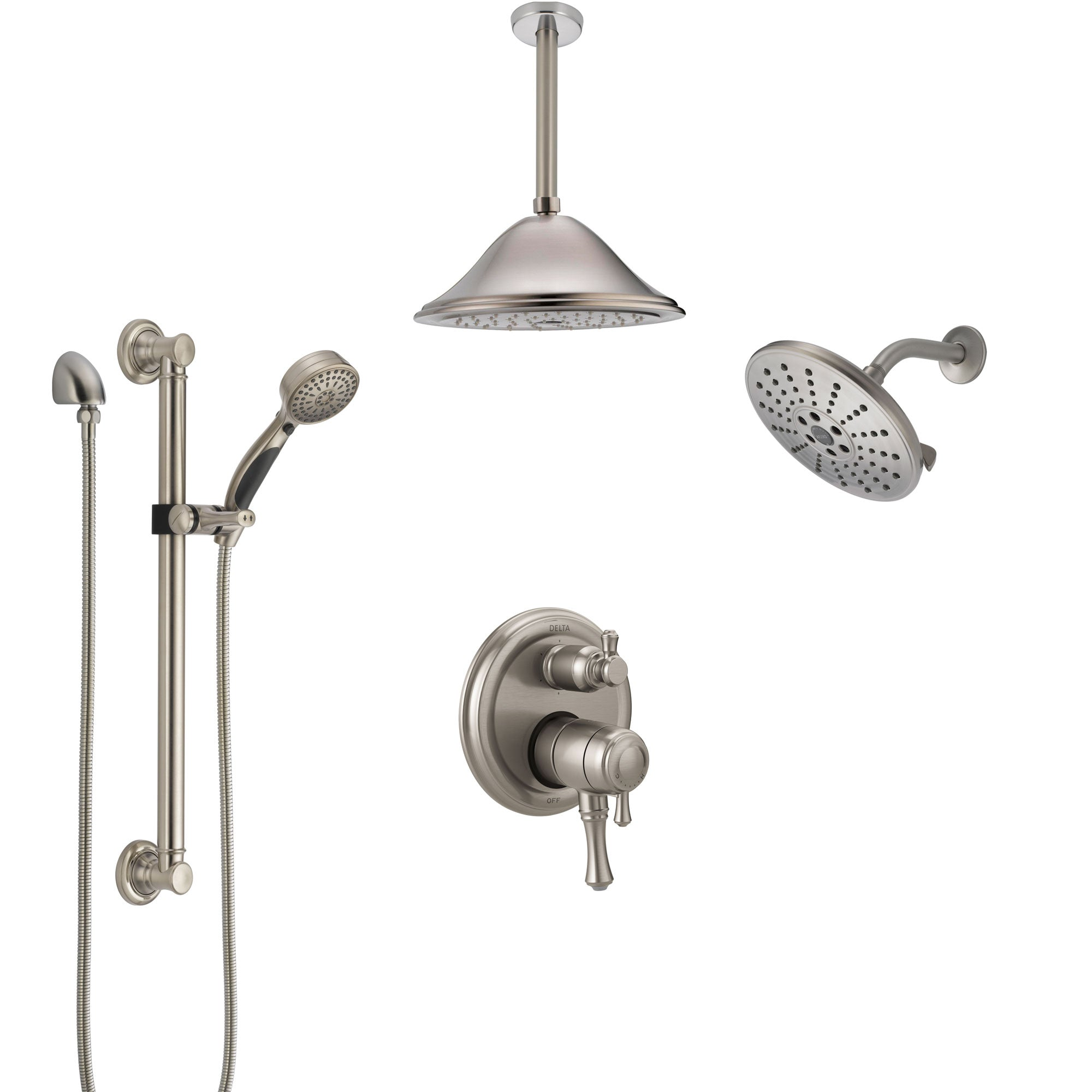 Delta Cassidy Dual Control Handle Stainless Steel Finish Shower System Showerhead Ceiling Showerhead Grab Bar Hand Spray Ss27997ss8