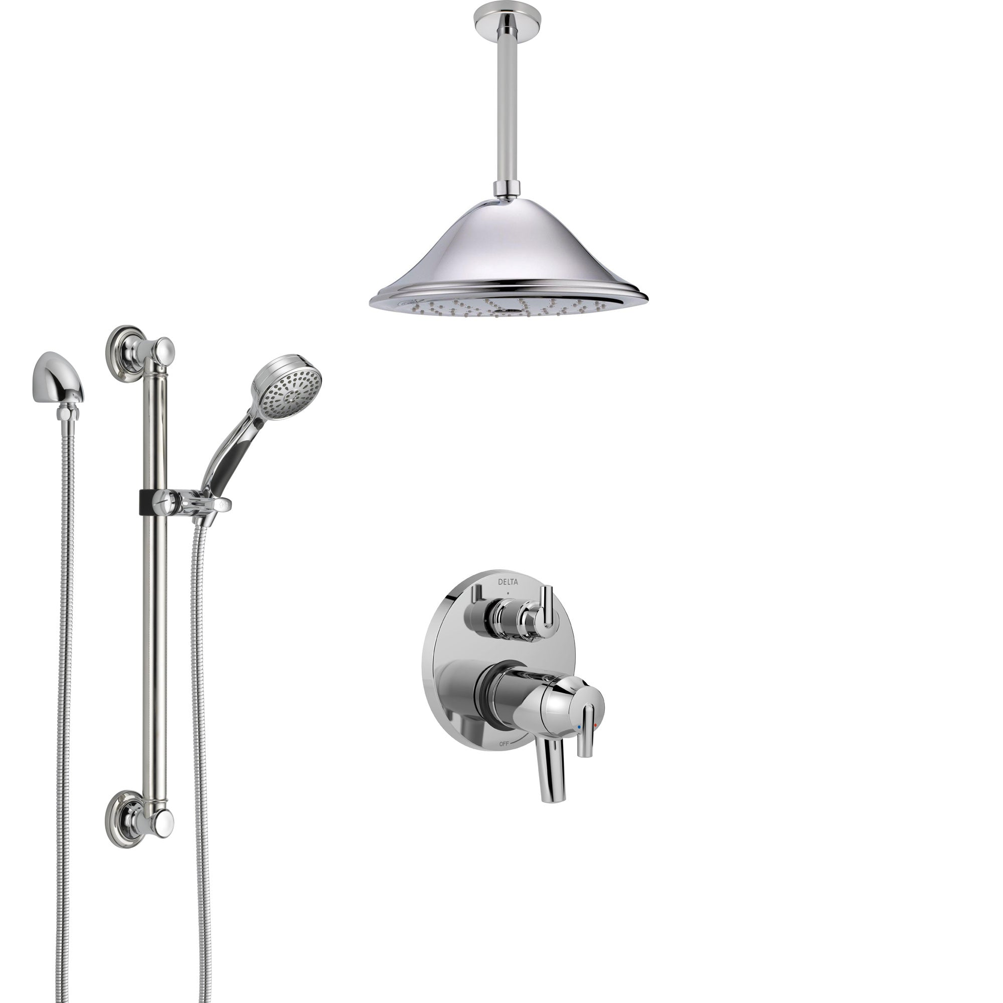 Delta Trinsic Chrome Integrated Diverter Shower System with Dual Thermostatic Control, Ceiling Mount Showerhead, and Grab Bar Hand Shower SS27T8591