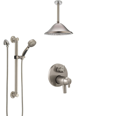 Delta Trinsic Dual Thermostatic Control Stainless Steel Finish Integrated Diverter Shower System, Ceiling Showerhead, Grab Bar Hand Spray SS27T859SS6