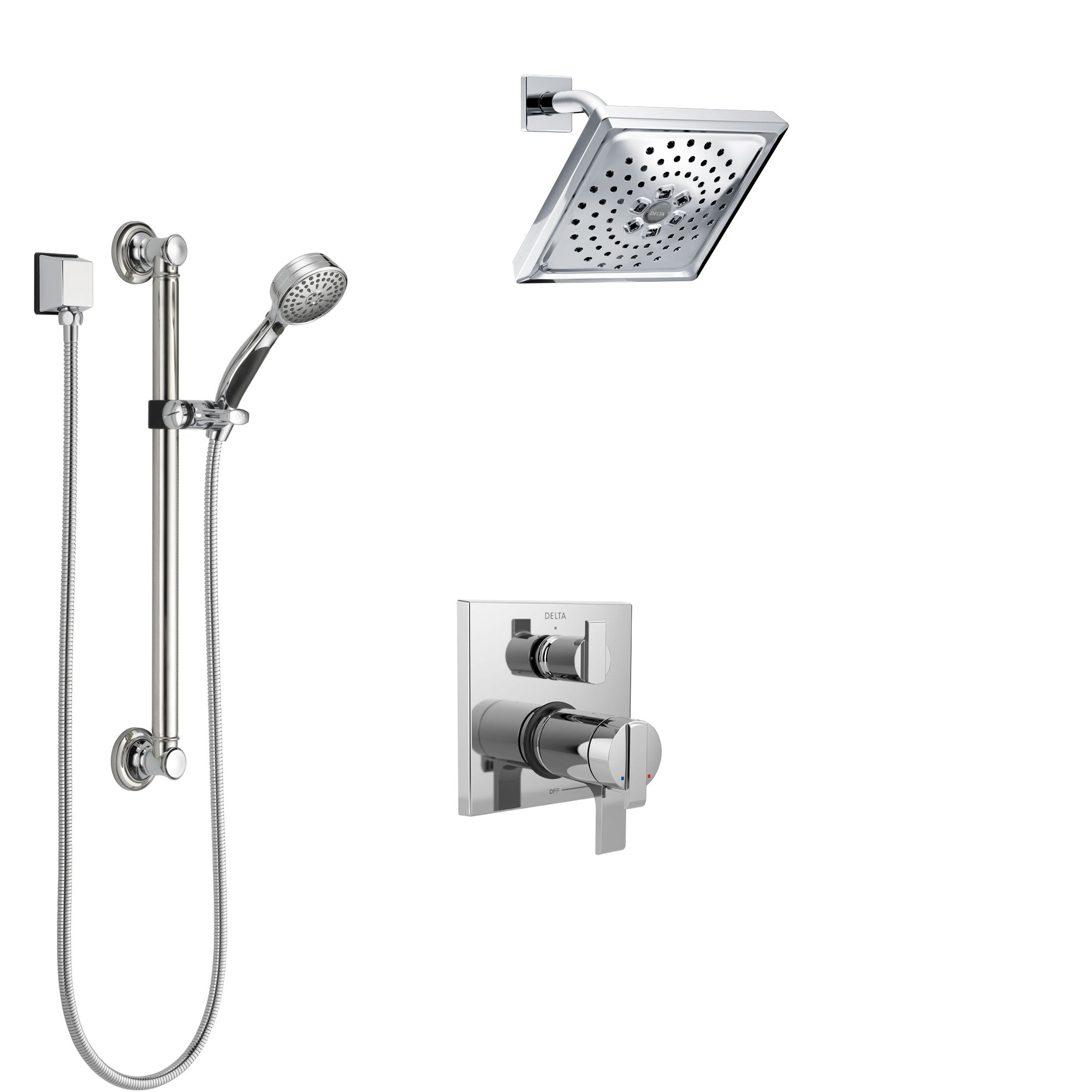 Delta Ara Chrome Finish Shower System with Dual Thermostatic Control Handle, Integrated Diverter, Showerhead, and Hand Shower with Grab Bar SS27T8671
