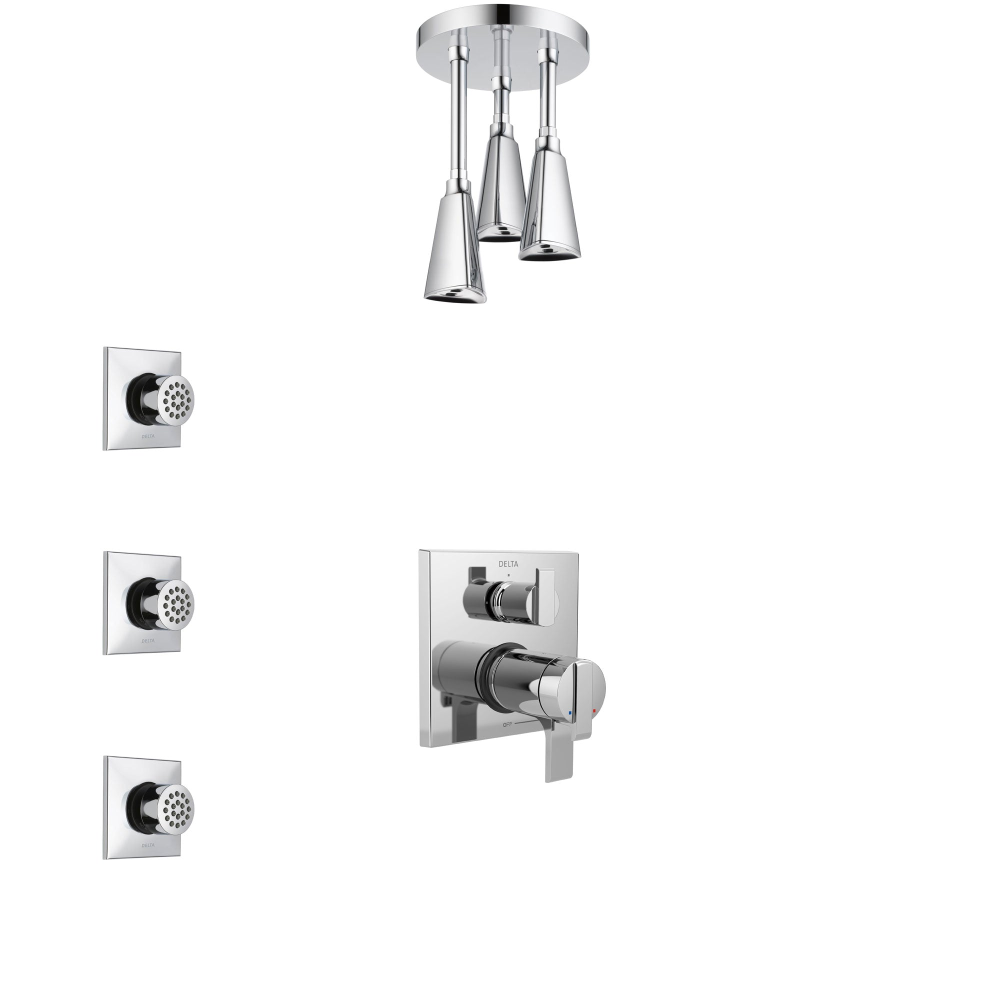 Delta Ara Chrome Shower System with Dual Thermostatic Control Handle, Integrated Diverter, Ceiling Mount Showerhead, and 3 Body Sprays SS27T8674