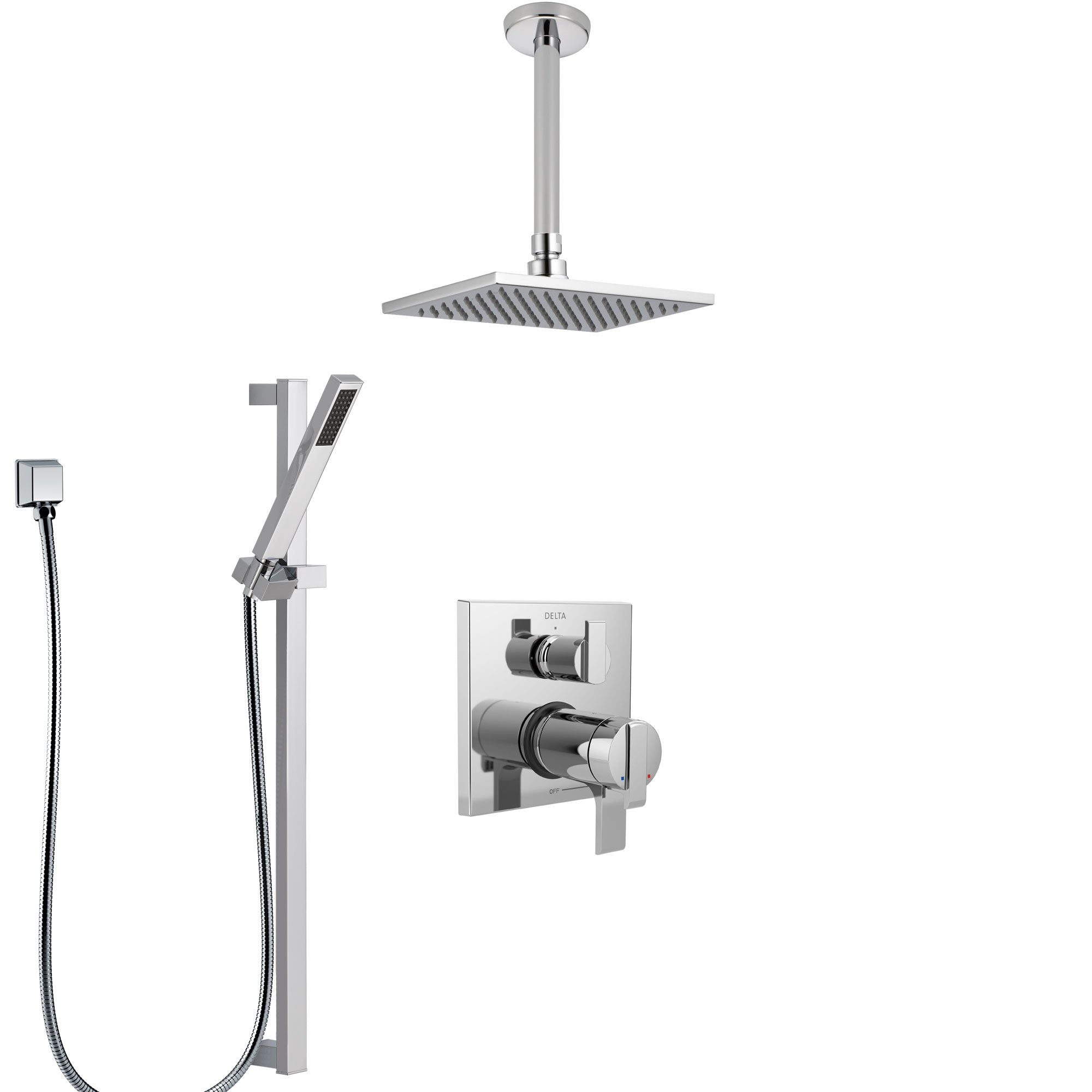 Delta Ara Chrome Finish Shower System with Dual Thermostatic Control Handle, Integrated Diverter, Ceiling Mount Showerhead, and Hand Shower SS27T8677