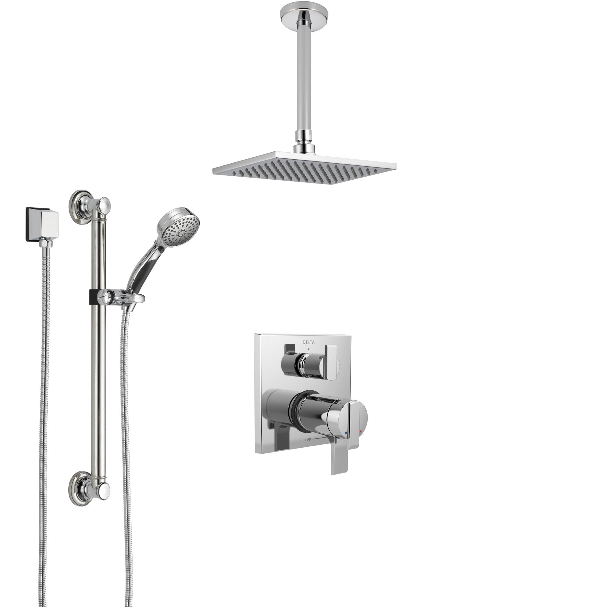 Delta Ara Chrome Integrated Diverter Shower System with Dual Thermostatic Control, Ceiling Mount Showerhead, and Hand Shower with Grab Bar SS27T8679