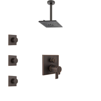 Delta Ara Venetian Bronze Integrated Diverter Shower System with Dual Thermostatic Control, Ceiling Mount Showerhead, and 3 Body Sprays SS27T867RB12