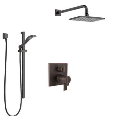 Delta Ara Venetian Bronze Shower System with Dual Thermostatic Control Handle, Integrated Diverter, Showerhead, and Hand Shower SS27T867RB7