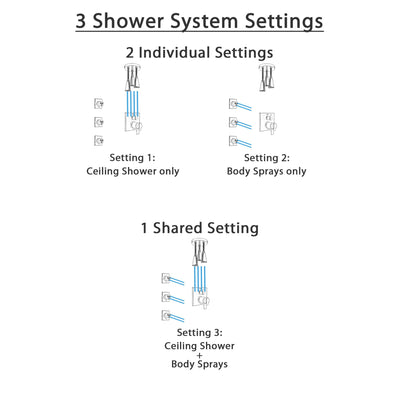 Delta Ara Dual Thermostatic Control Stainless Steel Finish Integrated Diverter Shower System, Ceiling Mount Showerhead, and 3 Body Sprays SS27T867SS10