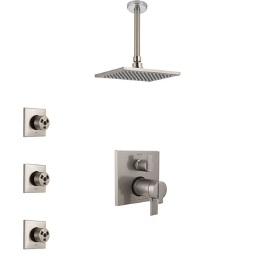 Delta Ara Dual Thermostatic Control Stainless Steel Finish Integrated Diverter Shower System, Ceiling Mount Showerhead, and 3 Body Sprays SS27T867SS11