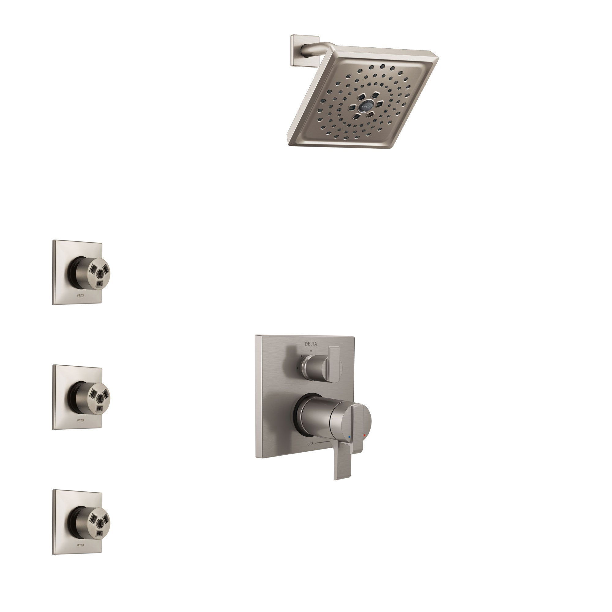 Delta Ara Dual Thermostatic Control Handle Stainless Steel Finish Shower System, Integrated Diverter, Showerhead, and 3 Body Sprays SS27T867SS12