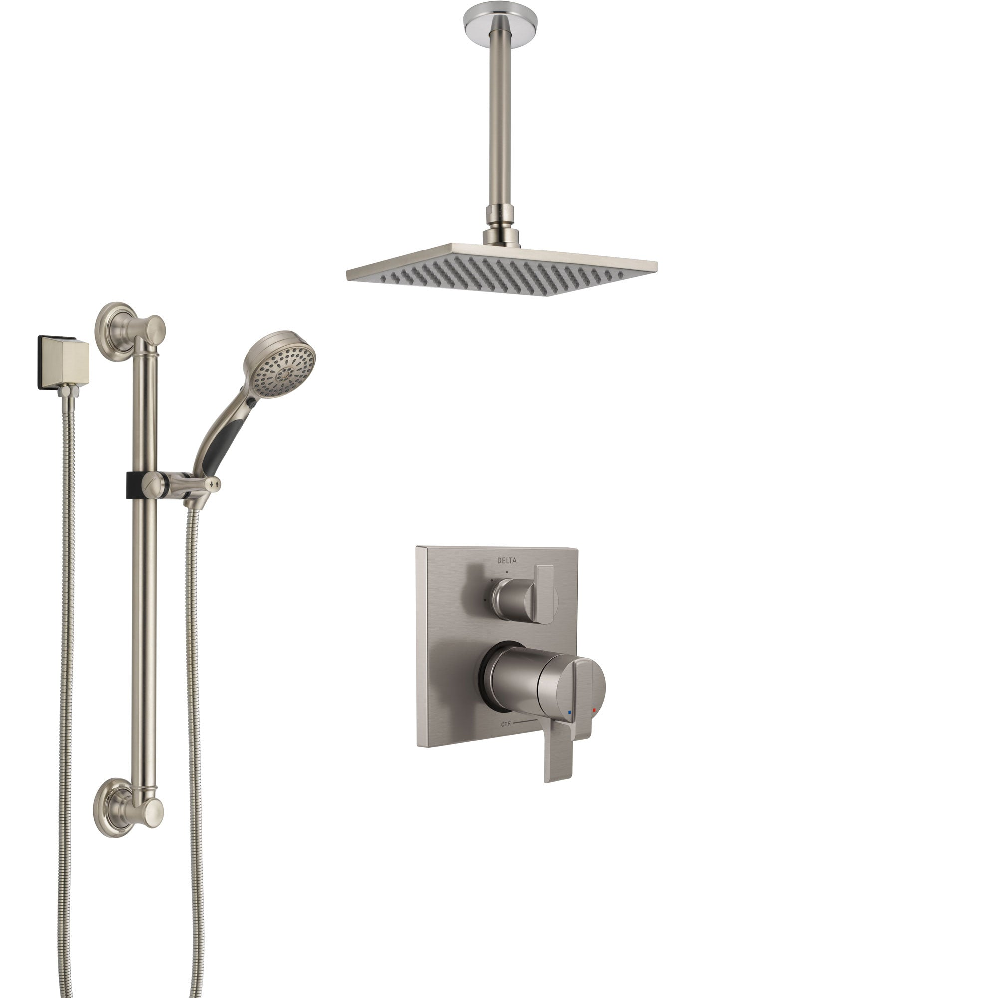 Delta Ara Dual Thermostatic Control Stainless Steel Finish Integrated Diverter Shower System, Ceiling Showerhead, and Grab Bar Hand Shower SS27T867SS2