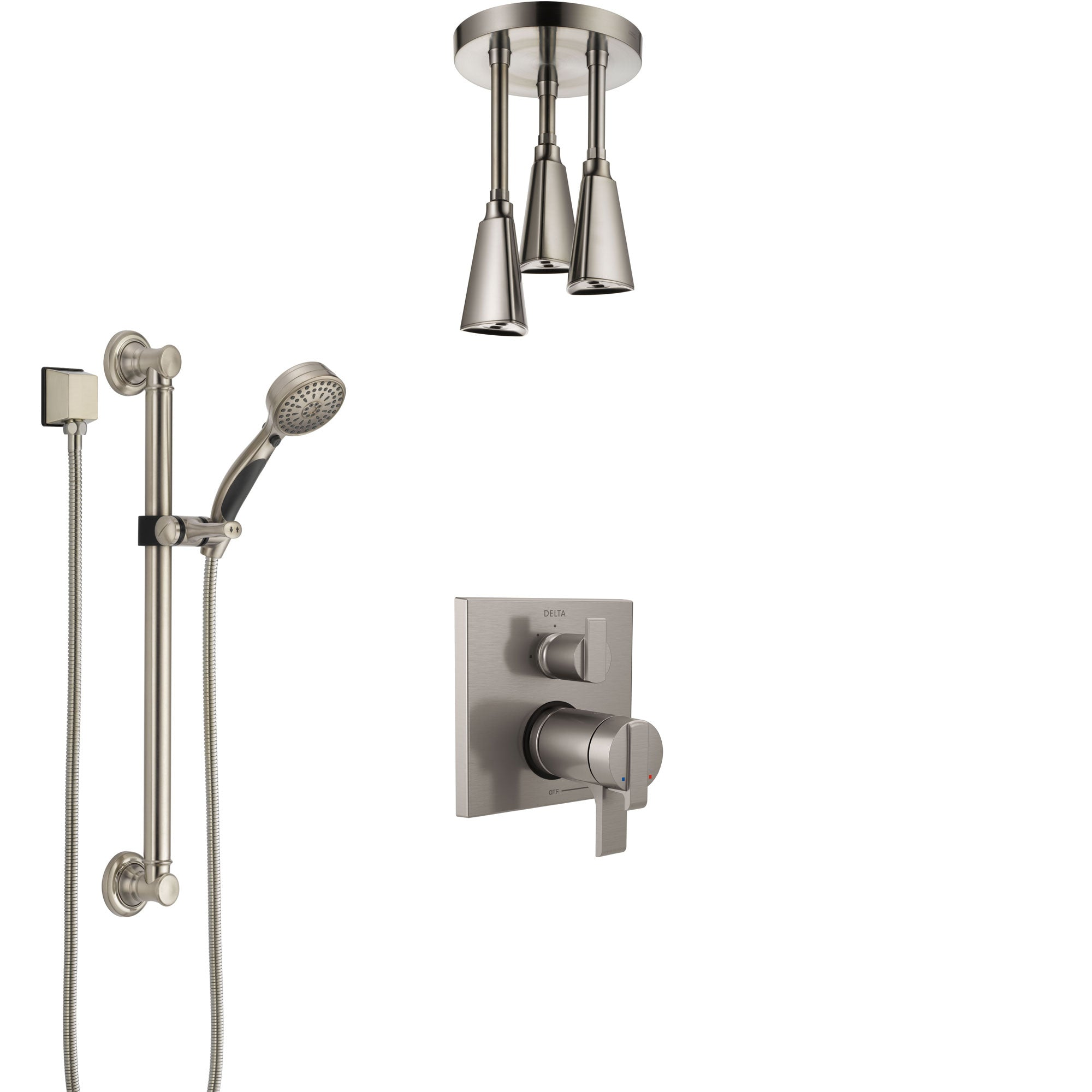 Delta Ara Dual Thermostatic Control Stainless Steel Finish Integrated Diverter Shower System, Ceiling Showerhead, and Grab Bar Hand Shower SS27T867SS3