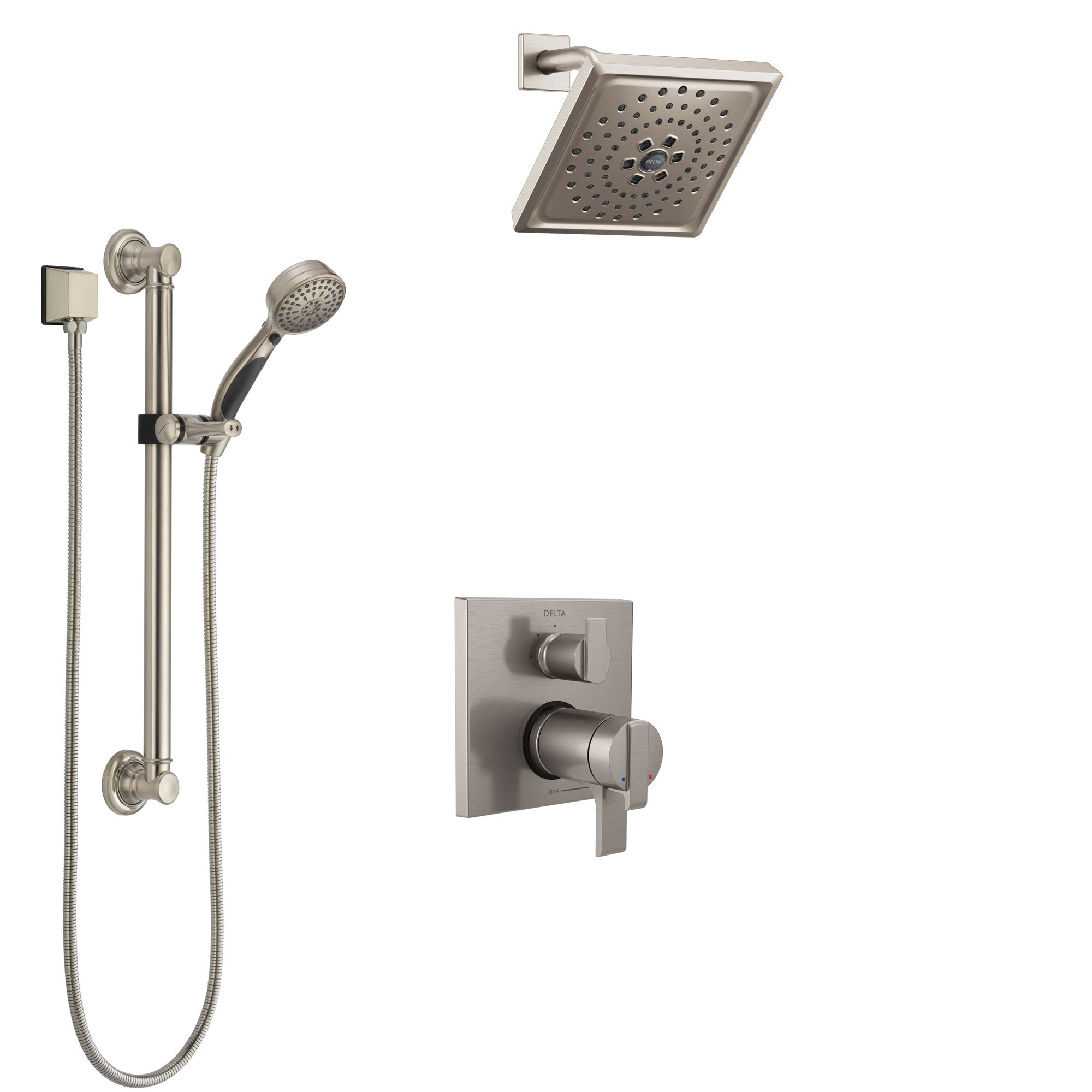 Delta Ara Dual Thermostatic Control Stainless Steel Finish Integrated Diverter Shower System, Showerhead, and Hand Shower with Grab Bar SS27T867SS4