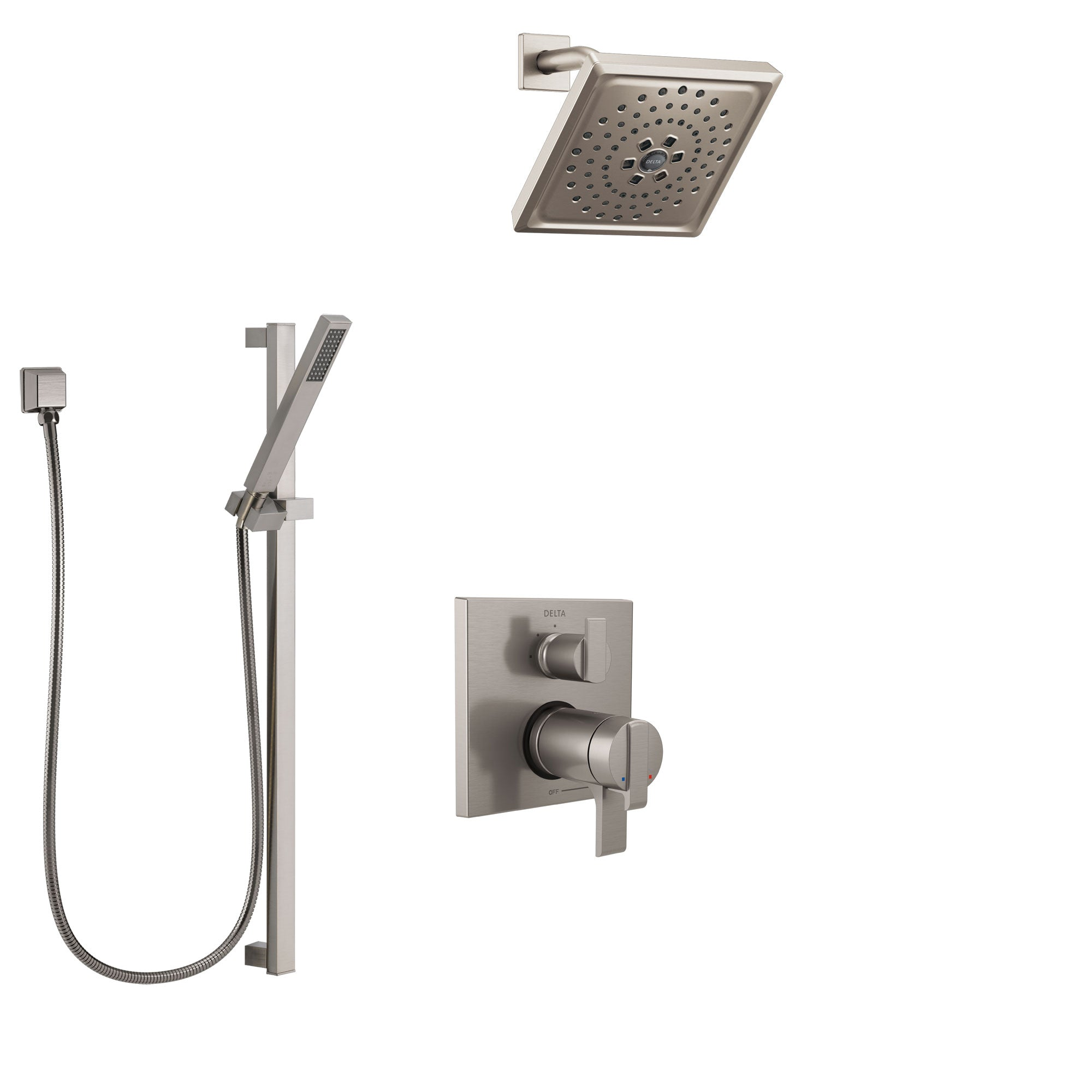 Delta Ara Dual Thermostatic Control Handle Stainless Steel Finish Shower System, Integrated Diverter, Showerhead, and Hand Shower SS27T867SS5