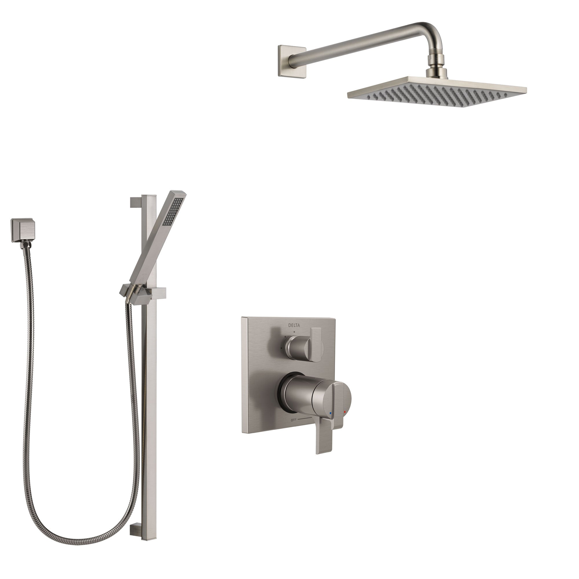 Delta Ara Dual Thermostatic Control Handle Stainless Steel Finish Shower System, Integrated Diverter, Showerhead, and Hand Shower SS27T867SS8