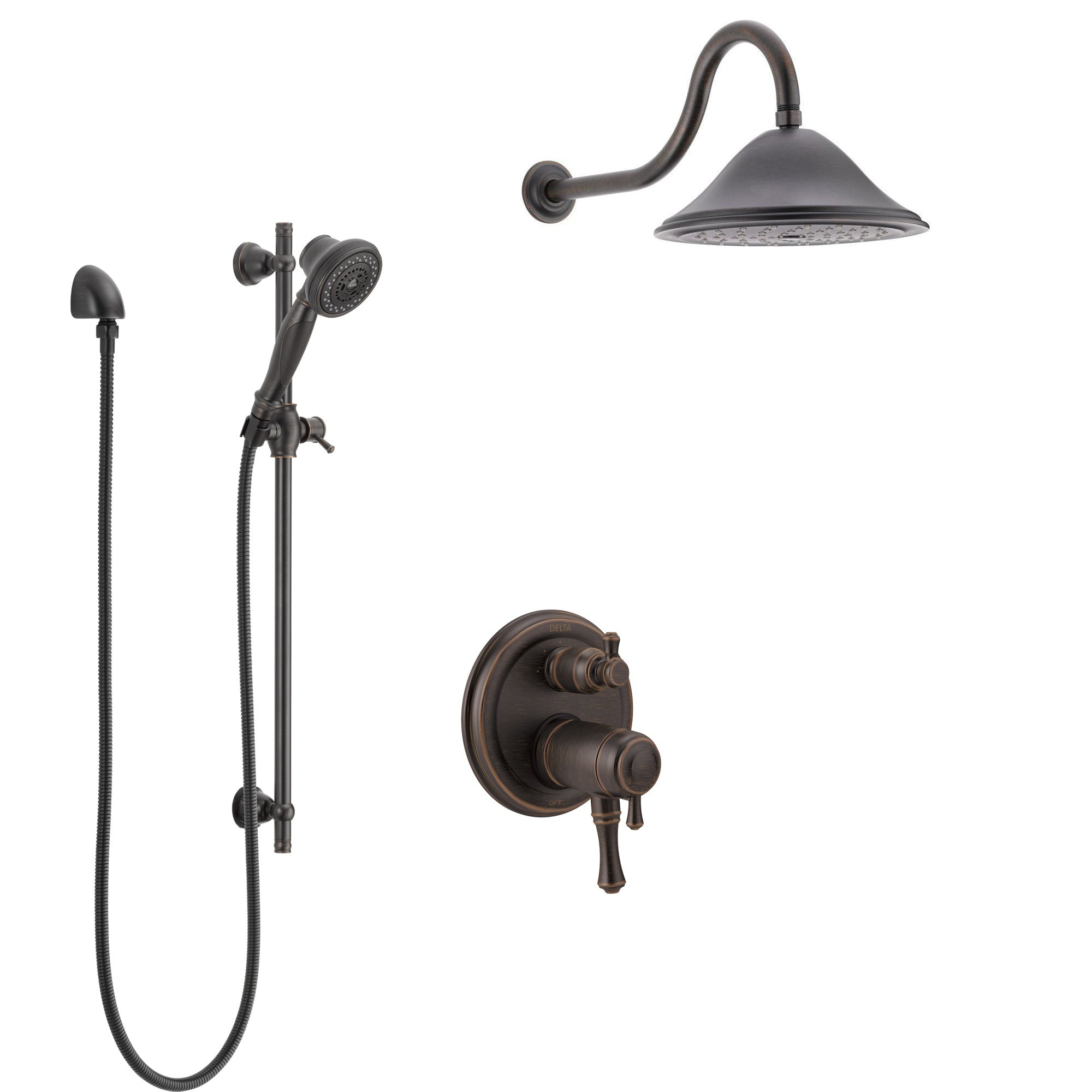 Delta Cassidy Venetian Bronze Shower System with Dual Thermostatic Control Handle, Integrated Diverter, Showerhead, and Hand Shower SS27T897RB11