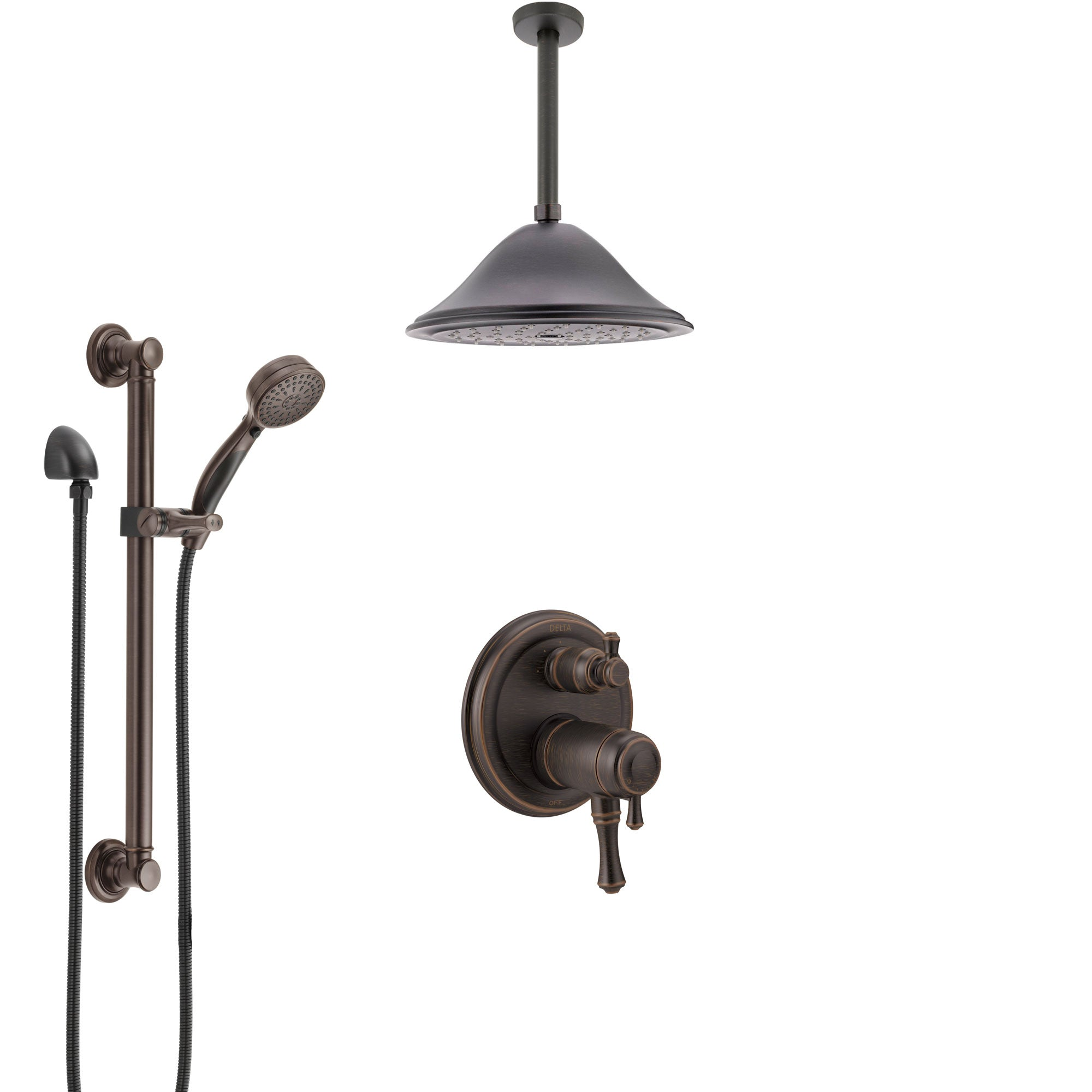 Delta Cassidy Venetian Bronze Integrated Diverter Dual Thermostatic Control Shower System, Ceiling Showerhead, and Grab Bar Hand Spray SS27T897RB1