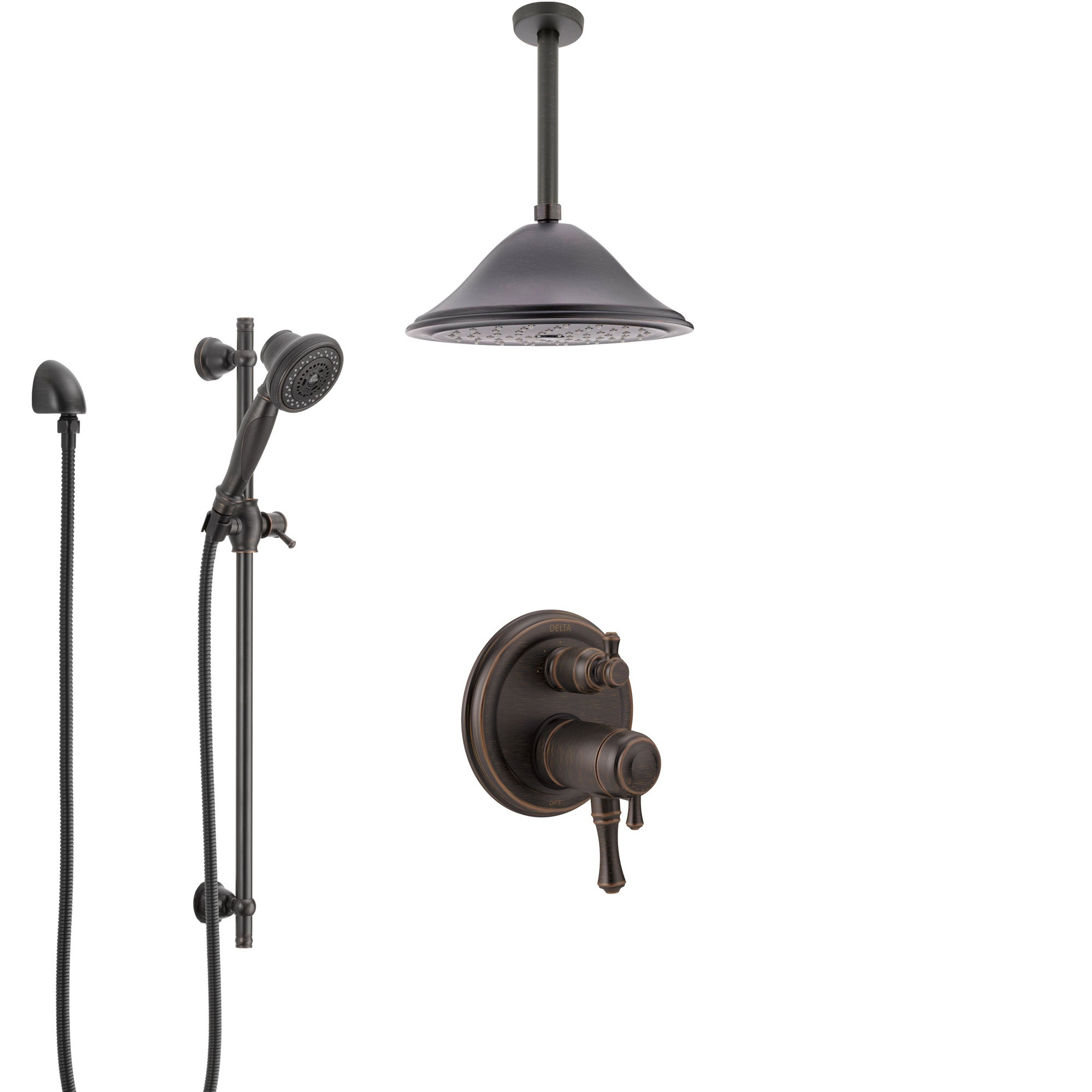 Delta Cassidy Venetian Bronze Integrated Diverter Shower System with Dual Thermostatic Control, Ceiling Mount Showerhead, and Hand Shower SS27T897RB3