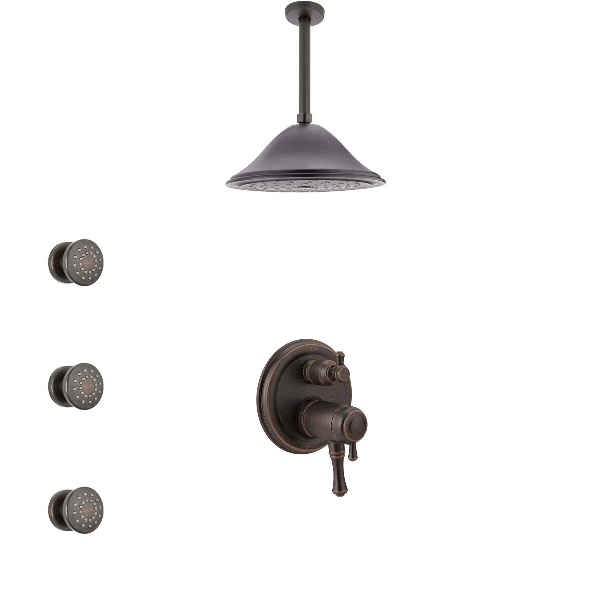 Delta Cassidy Venetian Bronze Integrated Diverter Shower System with Dual Thermostatic Control, Ceiling Showerhead, and 3 Body Sprays SS27T897RB4