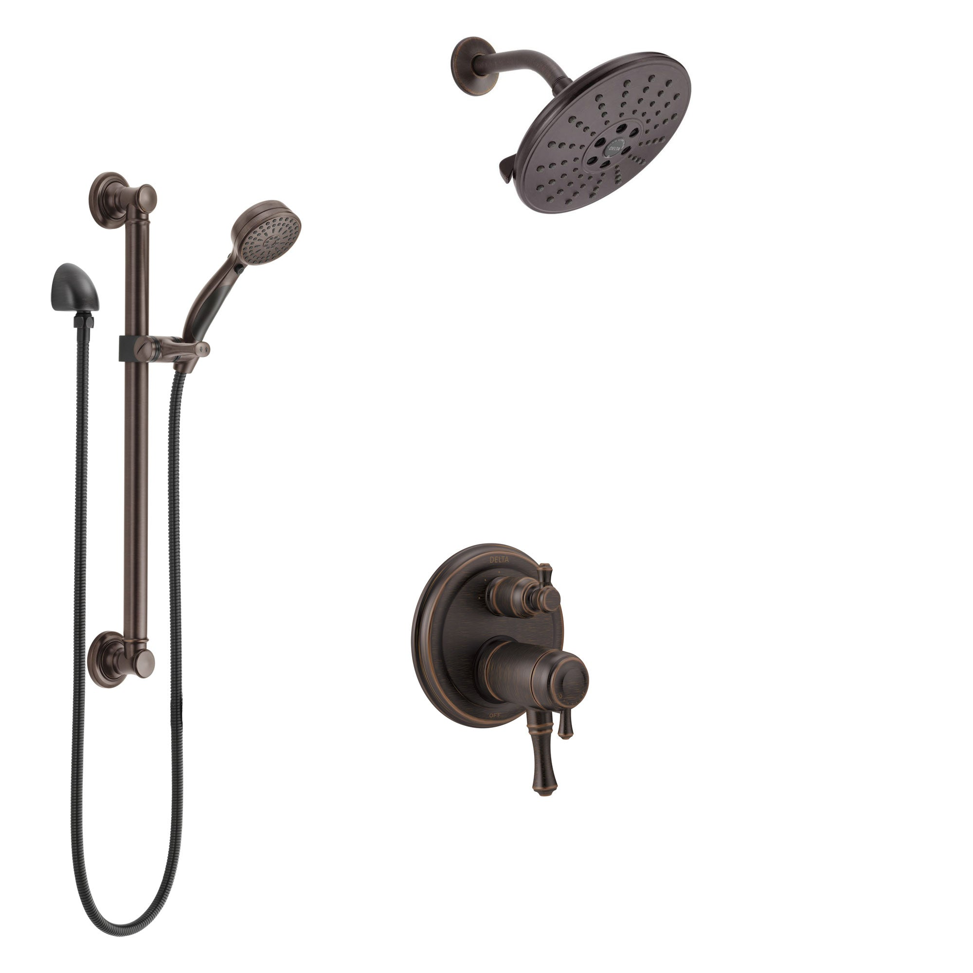 Delta Cassidy Venetian Bronze Integrated Diverter Shower System with Dual Thermostatic Control, Showerhead, and Hand Shower with Grab Bar SS27T897RB7