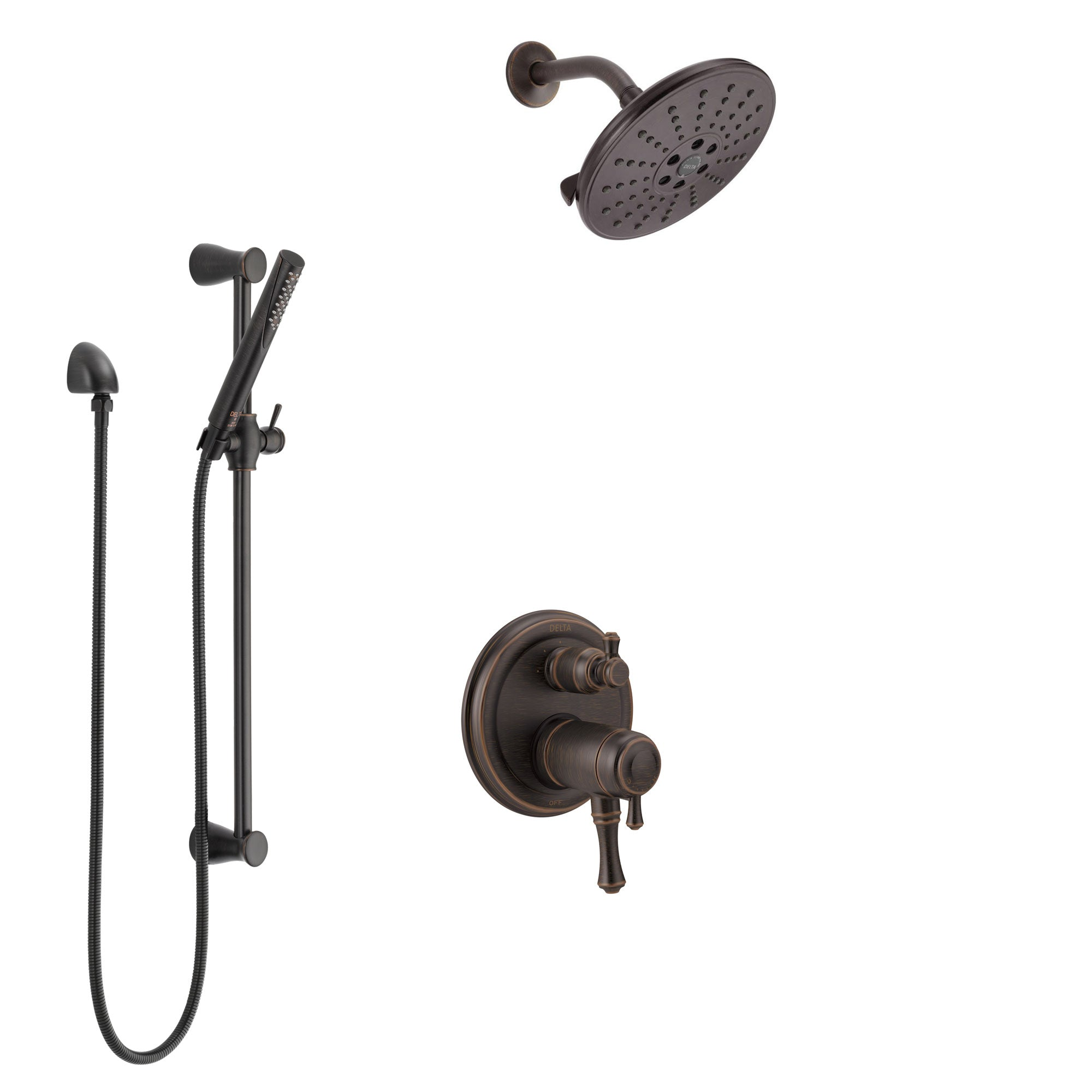 Delta Cassidy Venetian Bronze Shower System with Dual Thermostatic Control Handle, Integrated Diverter, Showerhead, and Hand Shower SS27T897RB8