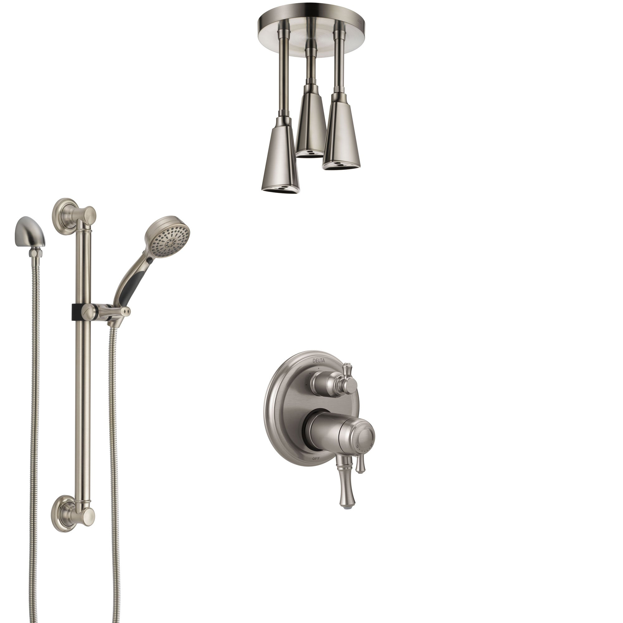 Delta Cassidy Dual Thermostatic Control Stainless Steel Finish Integrated Diverter Shower System, Ceiling Showerhead, Grab Bar Hand Spray SS27T897SS11