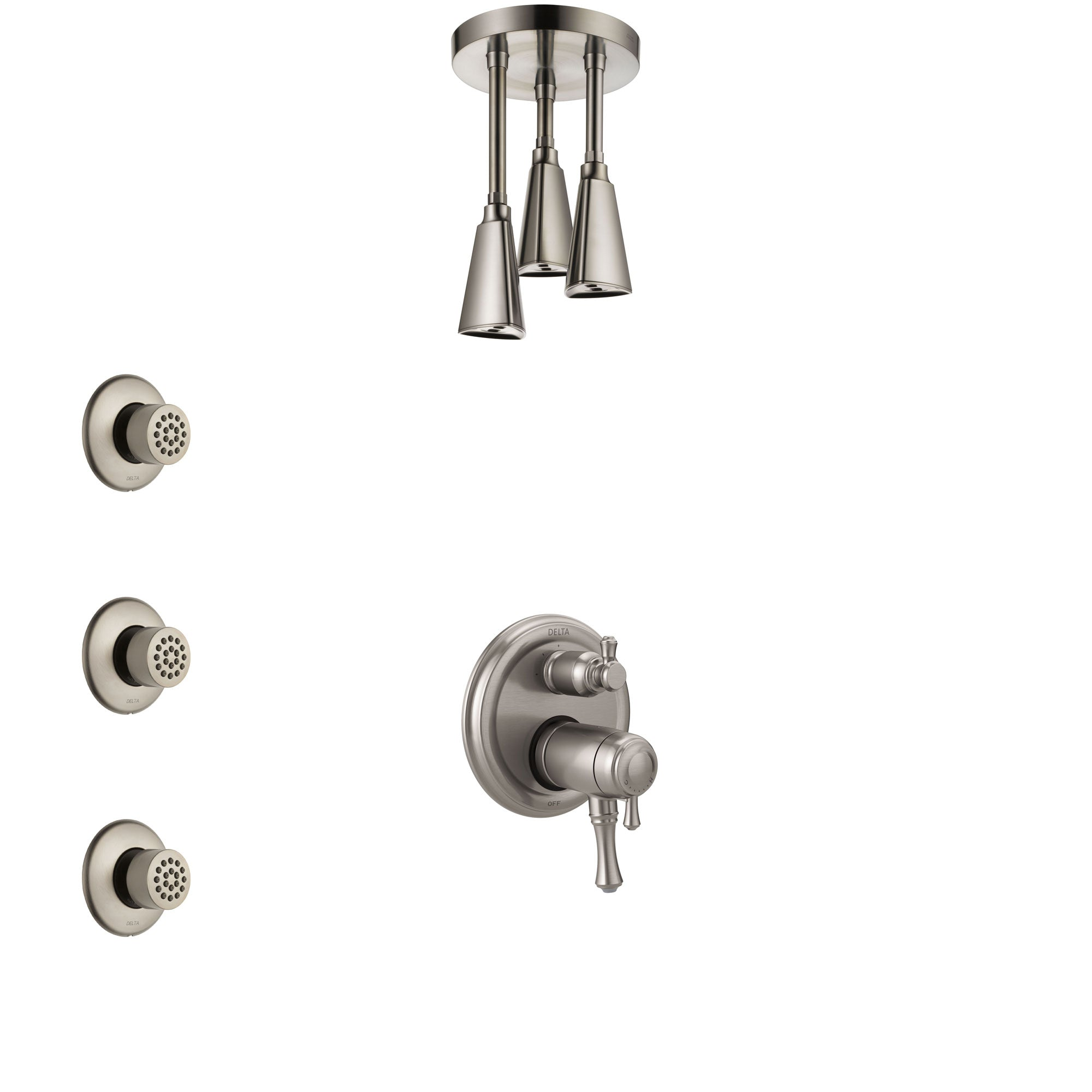 Delta Cassidy Dual Thermostatic Control Stainless Steel Finish Integrated Diverter Shower System, Ceiling Showerhead, and 3 Body Sprays SS27T897SS12