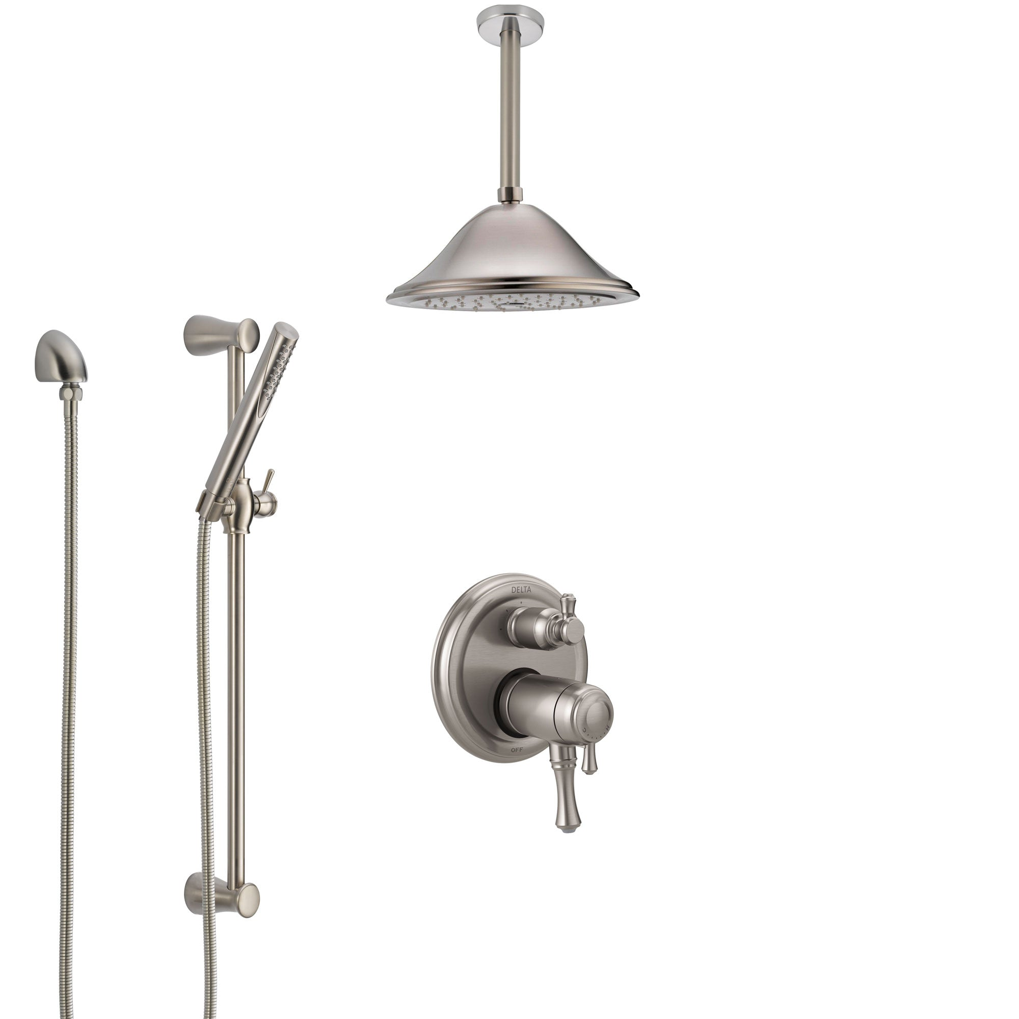 Delta Cassidy Dual Thermostatic Control Stainless Steel Finish Integrated Diverter Shower System, Ceiling Mount Showerhead and Hand Shower SS27T897SS1