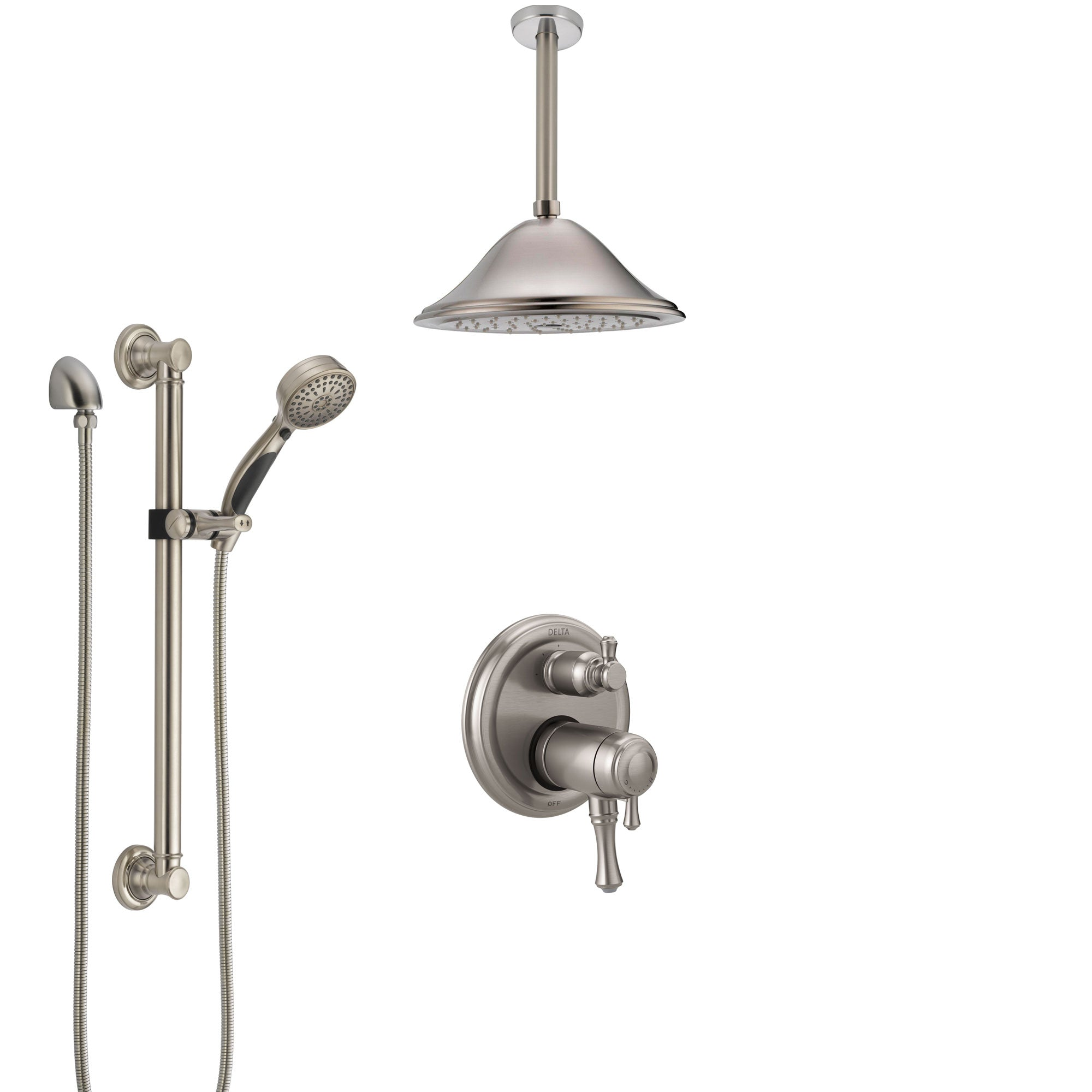 Delta Cassidy Dual Thermostatic Control Stainless Steel Finish Integrated Diverter Shower System, Ceiling Showerhead, Grab Bar Hand Spray SS27T897SS2
