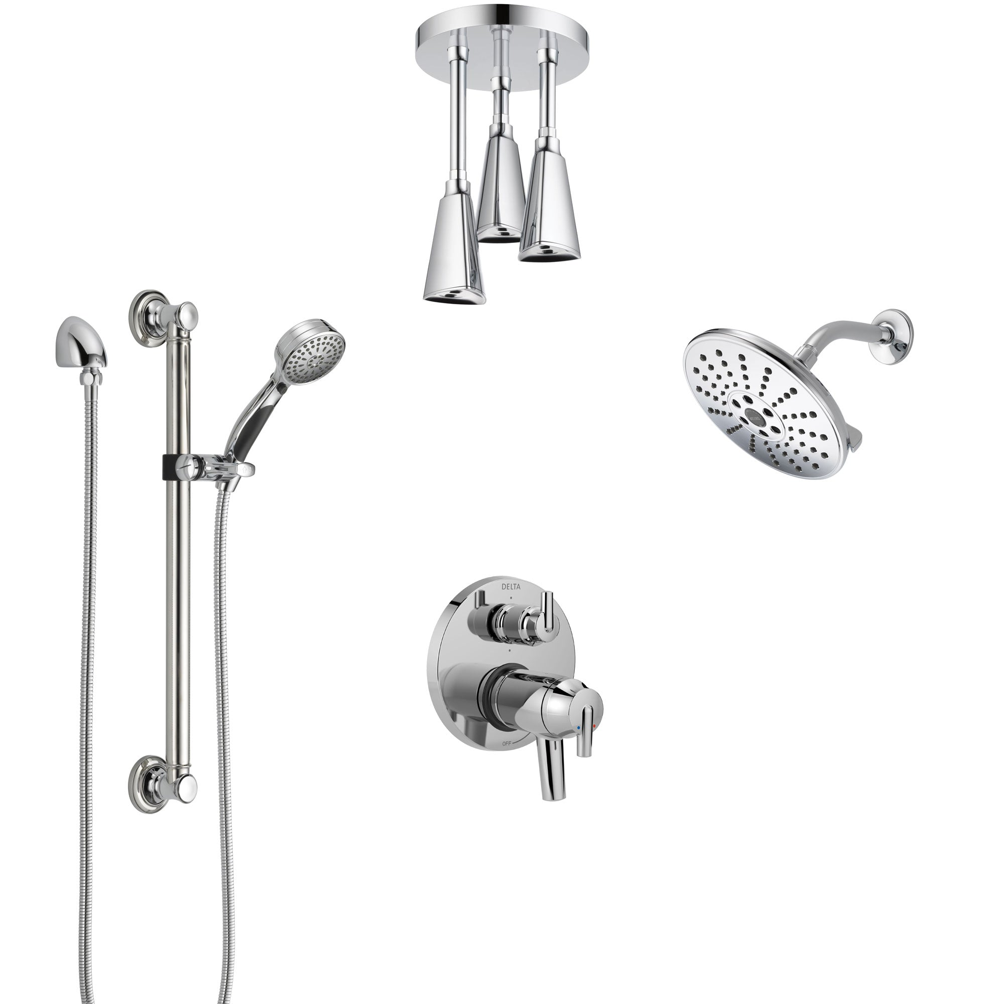 Delta Trinsic Chrome Dual Thermostatic Control Integrated Diverter Shower System, Showerhead, Ceiling Showerhead, and Grab Bar Hand Shower SS27T95911