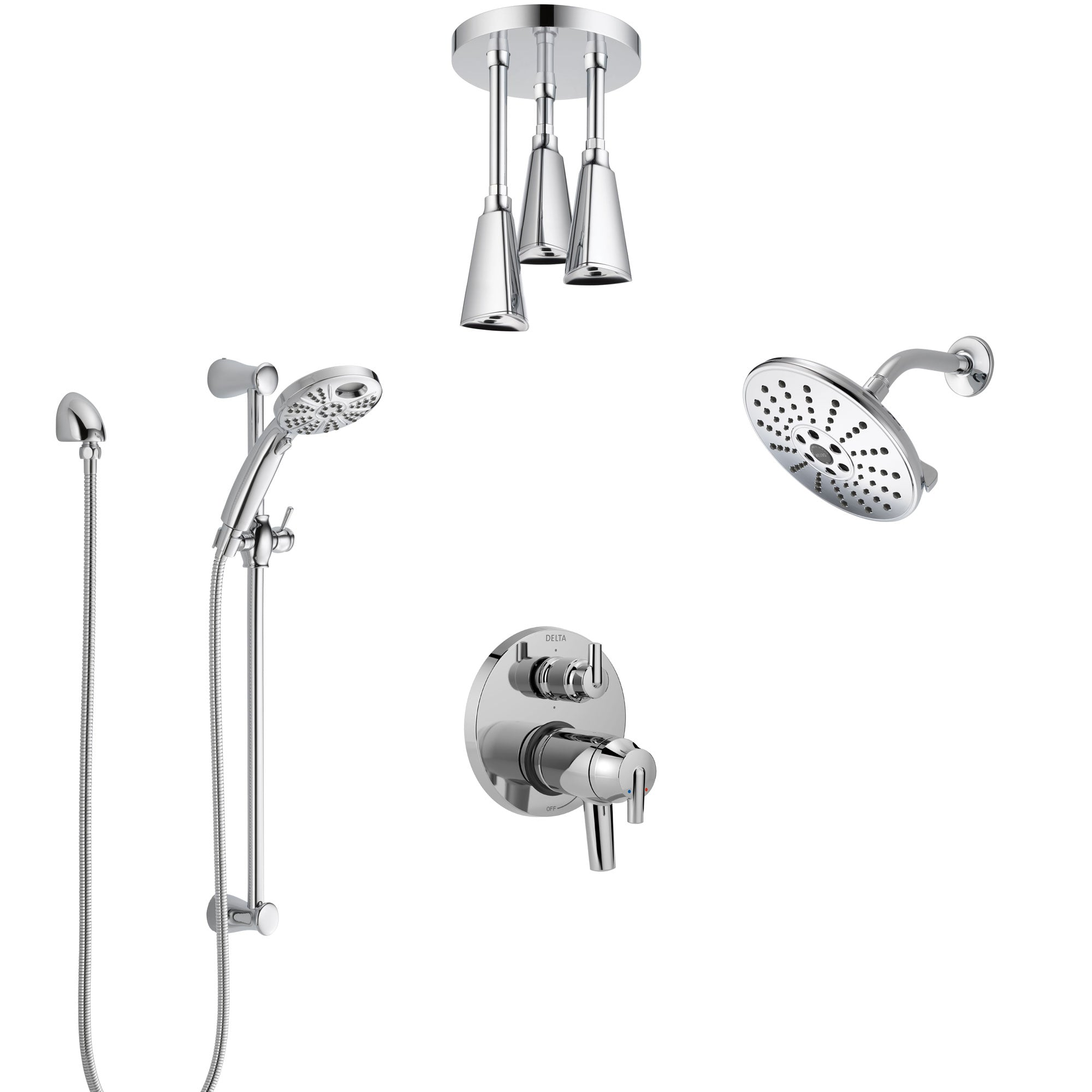 Delta Trinsic Chrome Dual Thermostatic Control Shower System, Integrated Diverter, Showerhead, Ceiling Showerhead, and Temp2O Hand Shower SS27T95912