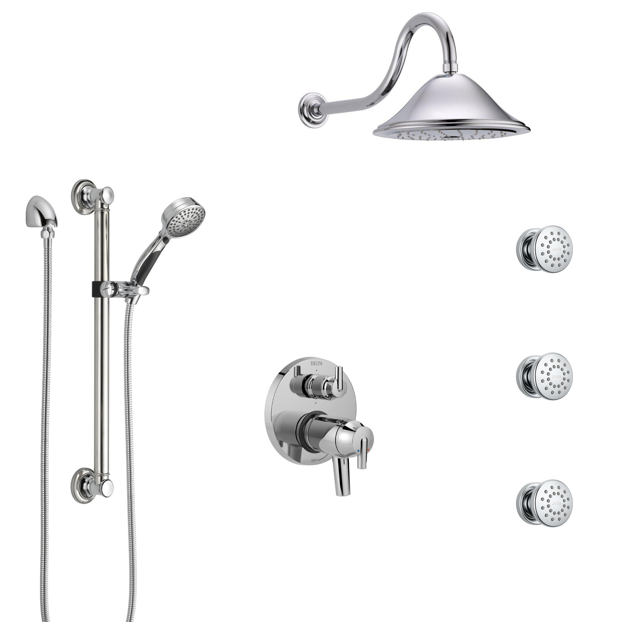 Delta Trinsic Chrome Shower System with Dual Thermostatic Control, Integrated Diverter, Showerhead, 3 Body Sprays, and Grab Bar Hand Shower SS27T9591