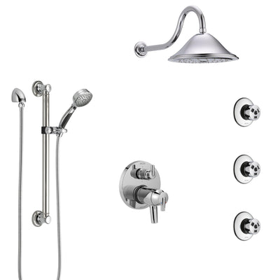 Delta Trinsic Chrome Shower System with Dual Thermostatic Control, Integrated Diverter, Showerhead, 3 Body Sprays, and Grab Bar Hand Shower SS27T9592