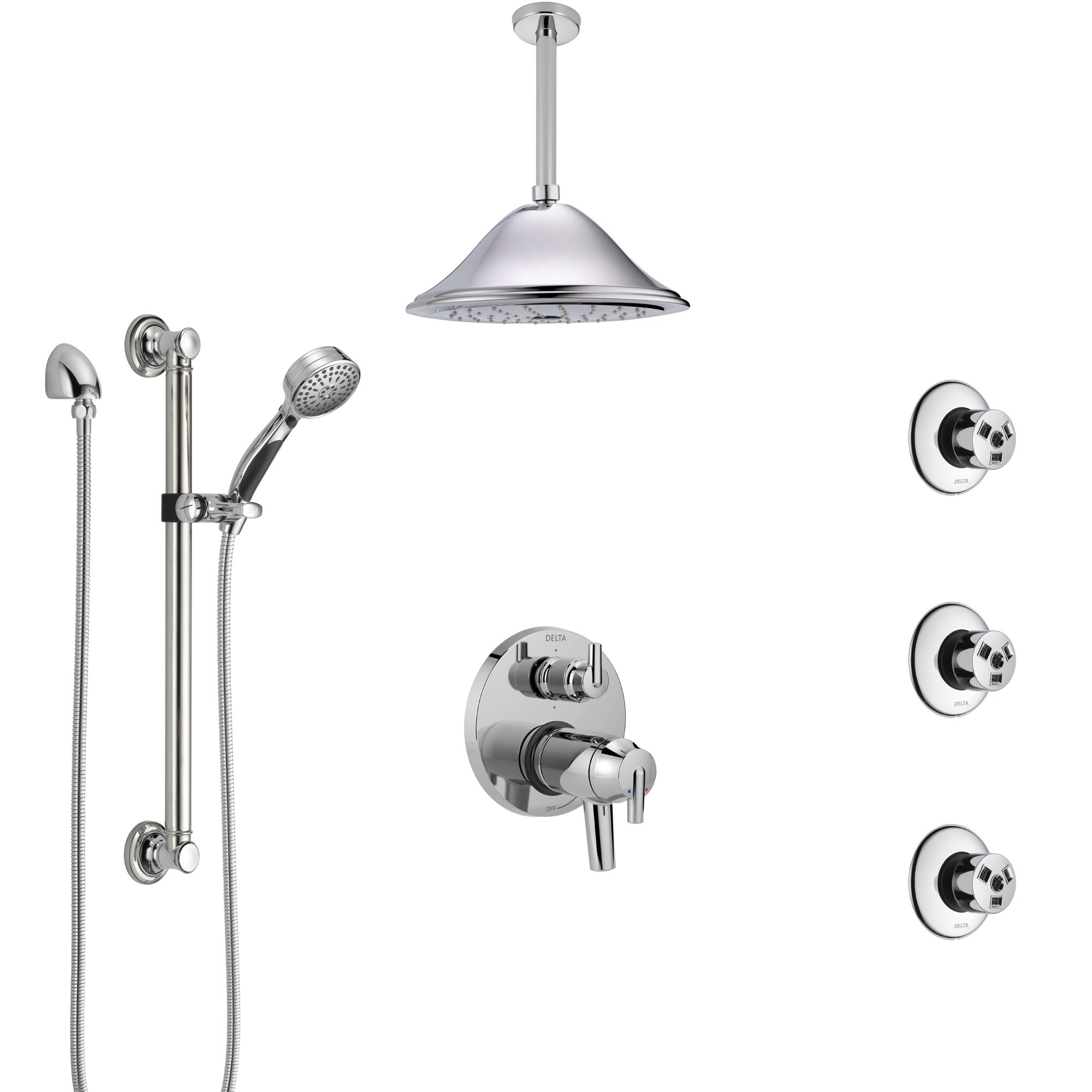 Delta Trinsic Chrome Dual Thermostatic Control Integrated Diverter Shower System, Ceiling Showerhead, 3 Body Sprays, and Grab Bar Hand Spray SS27T9593
