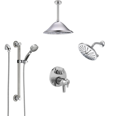 Delta Trinsic Chrome Dual Thermostatic Control Integrated Diverter Shower System, Showerhead, Ceiling Showerhead, and Grab Bar Hand Shower SS27T9594