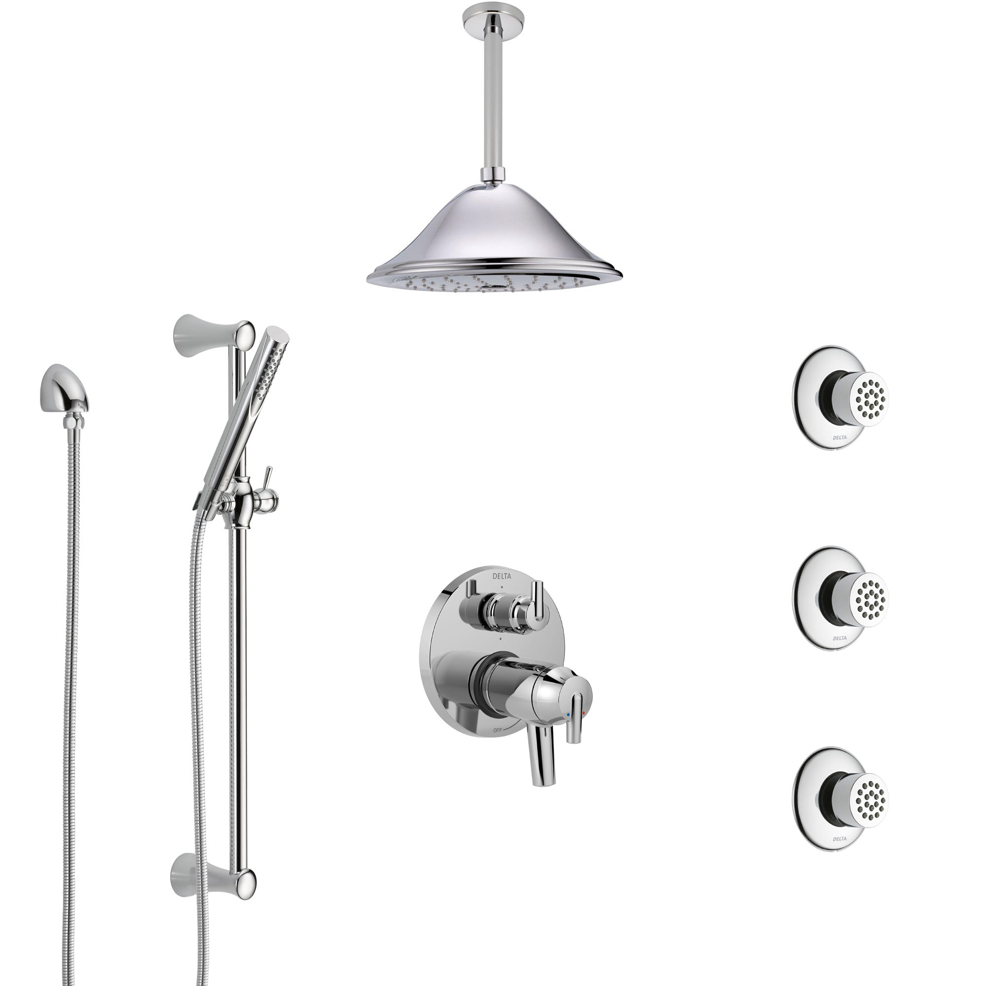 Delta Trinsic Chrome Shower System with Dual Thermostatic Control, Integrated Diverter, Ceiling Showerhead, 3 Body Sprays, and Hand Shower SS27T9596