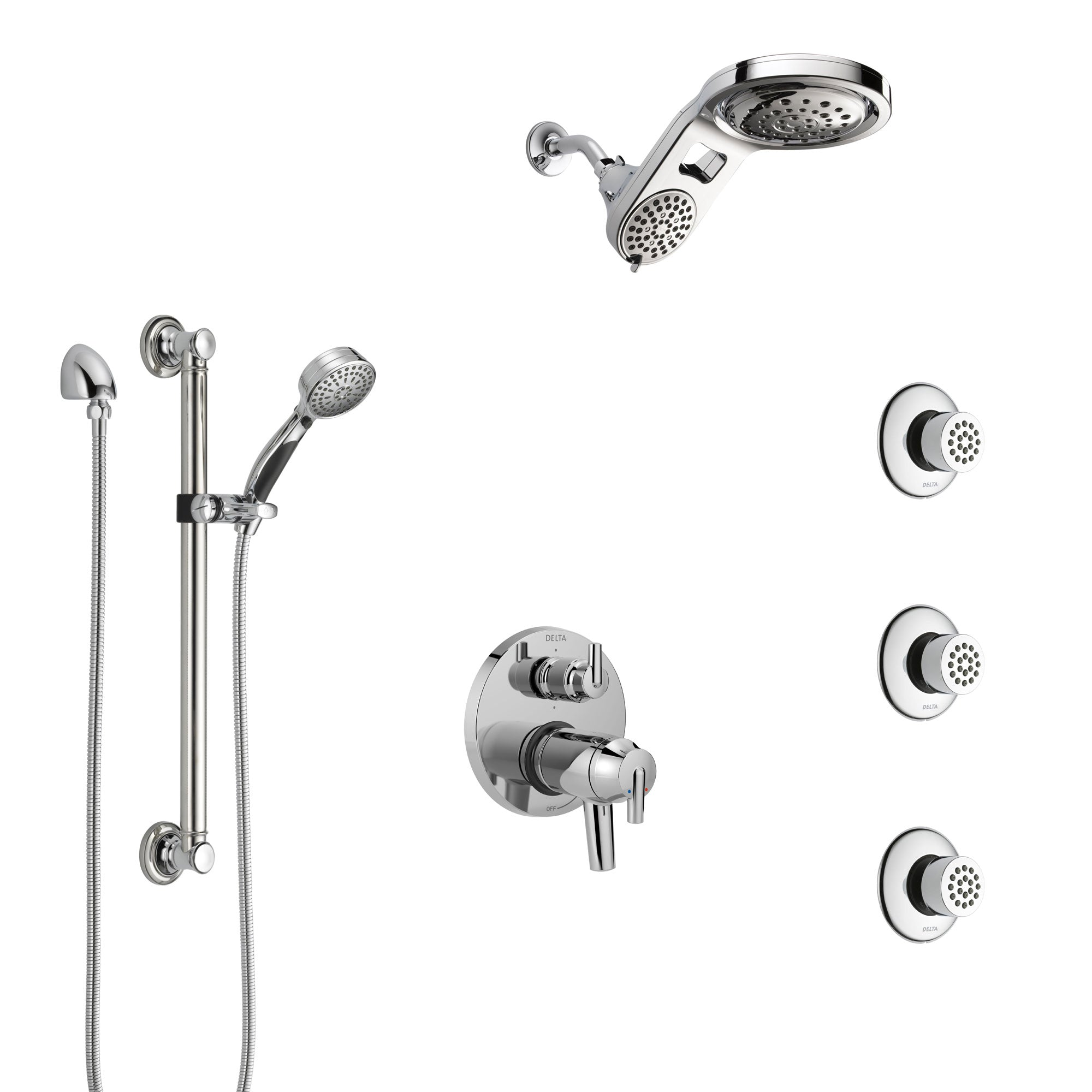 Delta Trinsic Chrome Dual Thermostatic Control Integrated Diverter Shower System, Dual Showerhead, 3 Body Sprays, and Grab Bar Hand Shower SS27T9599