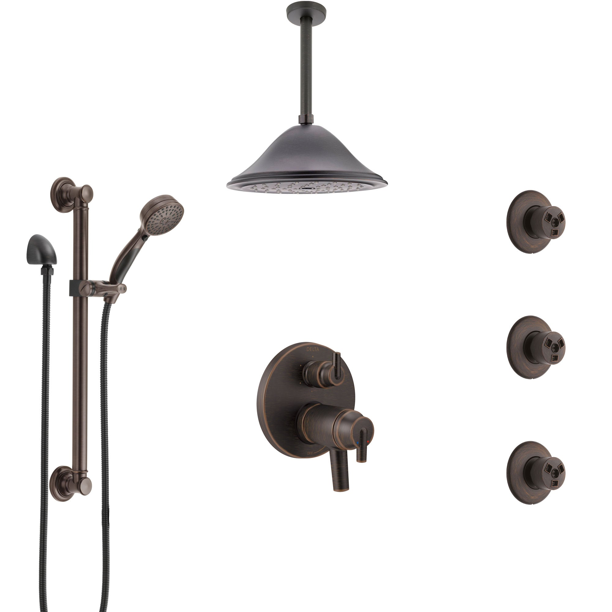 Delta Trinsic Venetian Bronze Dual Thermostatic Control Shower System, Ceiling Showerhead, 3 Body Jets, Grab Bar Hand Spray SS27T959RB10