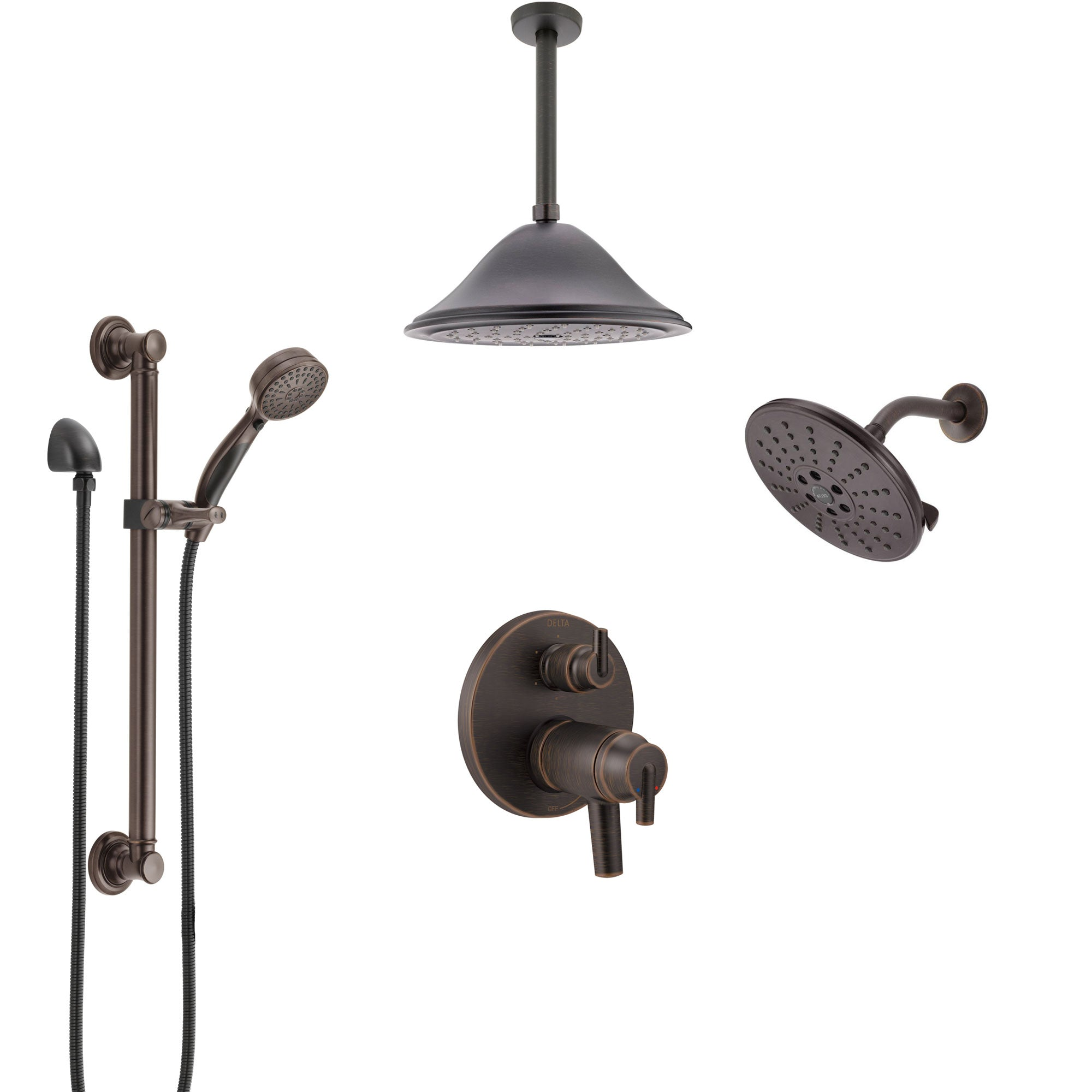 Delta Trinsic Venetian Bronze Dual Thermostatic Control Shower System, Showerhead, Ceiling Showerhead, Grab Bar Hand Spray SS27T959RB11